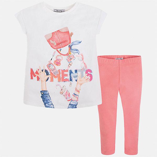 Комплект: блузка и леггинсы для девочки MayoralКомплекты<br>Характеристики товара:<br><br>• цвет: белый/розовый<br>• состав: 95% хлопок, 5% эластан<br>• комплектация: футболка, леггинсы<br>• футболка декорирована принтом <br>• леггинсы однотонные<br>• пояс на резинке<br>• страна бренда: Испания<br><br>Красивый качественный комплект для девочки поможет разнообразить гардероб ребенка и удобно одеться в теплую погоду. Он отлично сочетается с другими предметами. Универсальный цвет позволяет подобрать к вещам верхнюю одежду практически любой расцветки. Интересная отделка модели делает её нарядной и оригинальной. В составе материала - натуральный хлопок, гипоаллергенный, приятный на ощупь, дышащий.<br><br>Одежда, обувь и аксессуары от испанского бренда Mayoral полюбились детям и взрослым по всему миру. Модели этой марки - стильные и удобные. Для их производства используются только безопасные, качественные материалы и фурнитура. Порадуйте ребенка модными и красивыми вещами от Mayoral! <br><br>Комплект для девочки от испанского бренда Mayoral (Майорал) можно купить в нашем интернет-магазине.<br><br>Ширина мм: 123<br>Глубина мм: 10<br>Высота мм: 149<br>Вес г: 209<br>Цвет: розовый<br>Возраст от месяцев: 18<br>Возраст до месяцев: 24<br>Пол: Женский<br>Возраст: Детский<br>Размер: 92,134,128,122,116,110,104,98<br>SKU: 5300497