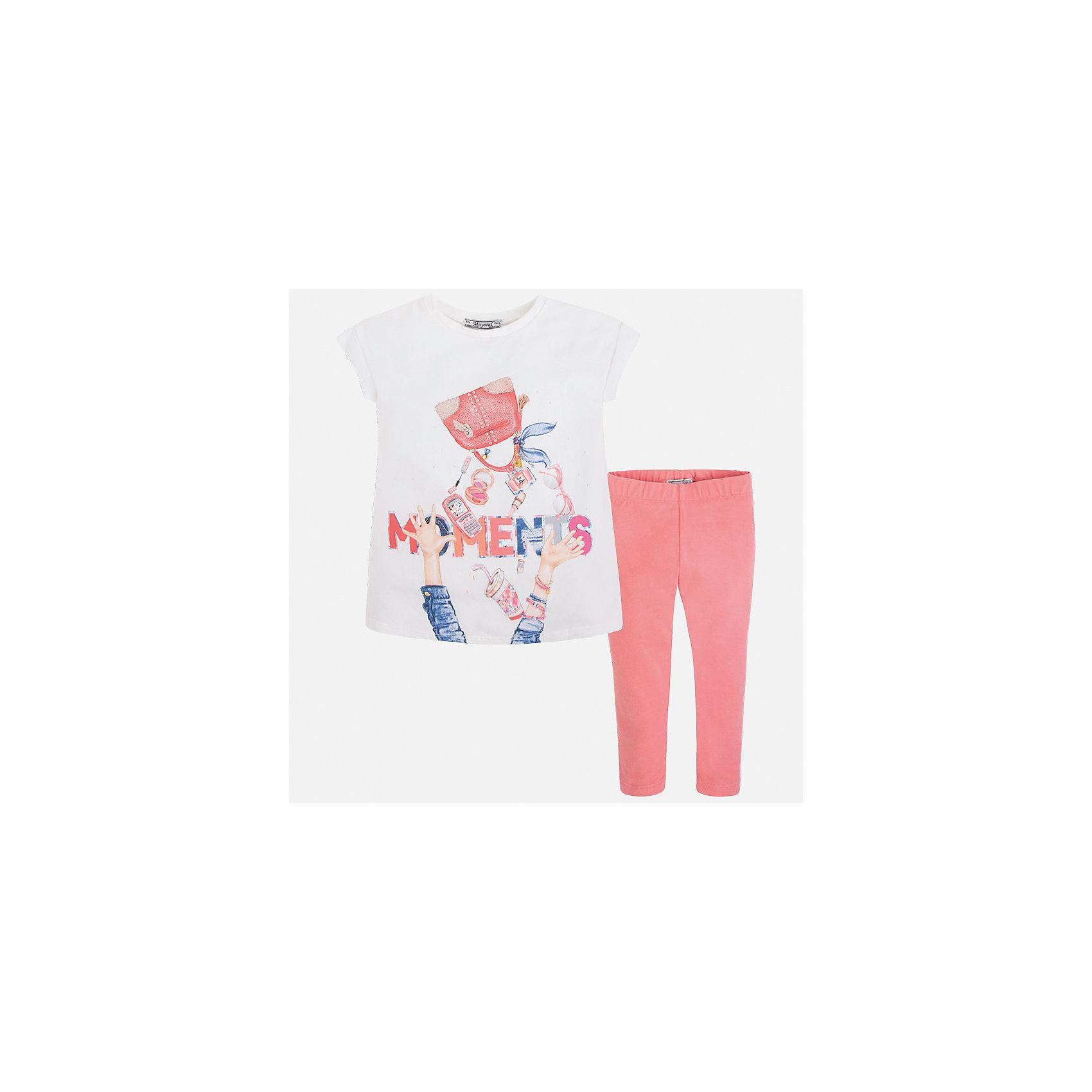 Комплект: блузка и леггинсы для девочки MayoralКомплекты<br>Характеристики товара:<br><br>• цвет: белый/розовый<br>• состав: 95% хлопок, 5% эластан<br>• комплектация: футболка, леггинсы<br>• футболка декорирована принтом <br>• леггинсы однотонные<br>• пояс на резинке<br>• страна бренда: Испания<br><br>Красивый качественный комплект для девочки поможет разнообразить гардероб ребенка и удобно одеться в теплую погоду. Он отлично сочетается с другими предметами. Универсальный цвет позволяет подобрать к вещам верхнюю одежду практически любой расцветки. Интересная отделка модели делает её нарядной и оригинальной. В составе материала - натуральный хлопок, гипоаллергенный, приятный на ощупь, дышащий.<br><br>Одежда, обувь и аксессуары от испанского бренда Mayoral полюбились детям и взрослым по всему миру. Модели этой марки - стильные и удобные. Для их производства используются только безопасные, качественные материалы и фурнитура. Порадуйте ребенка модными и красивыми вещами от Mayoral! <br><br>Комплект для девочки от испанского бренда Mayoral (Майорал) можно купить в нашем интернет-магазине.<br><br>Ширина мм: 123<br>Глубина мм: 10<br>Высота мм: 149<br>Вес г: 209<br>Цвет: розовый<br>Возраст от месяцев: 24<br>Возраст до месяцев: 36<br>Пол: Женский<br>Возраст: Детский<br>Размер: 98,104,110,116,122,128,134,92<br>SKU: 5300497