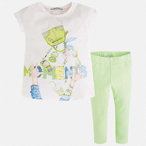 Комплект: блузка и леггинсы для девочки MayoralКомплекты<br>Характеристики товара:<br><br>• цвет: белый/зеленый<br>• состав: 95% хлопок, 5% эластан<br>• комплектация: футболка, леггинсы<br>• футболка декорирована принтом <br>• леггинсы однотонные<br>• пояс на резинке<br>• страна бренда: Испания<br><br>Красивый качественный комплект для девочки поможет разнообразить гардероб ребенка и удобно одеться в теплую погоду. Он отлично сочетается с другими предметами. Универсальный цвет позволяет подобрать к вещам верхнюю одежду практически любой расцветки. Интересная отделка модели делает её нарядной и оригинальной. В составе материала - натуральный хлопок, гипоаллергенный, приятный на ощупь, дышащий.<br><br>Одежда, обувь и аксессуары от испанского бренда Mayoral полюбились детям и взрослым по всему миру. Модели этой марки - стильные и удобные. Для их производства используются только безопасные, качественные материалы и фурнитура. Порадуйте ребенка модными и красивыми вещами от Mayoral! <br><br>Комплект для девочки от испанского бренда Mayoral (Майорал) можно купить в нашем интернет-магазине.<br><br>Ширина мм: 123<br>Глубина мм: 10<br>Высота мм: 149<br>Вес г: 209<br>Цвет: зеленый<br>Возраст от месяцев: 96<br>Возраст до месяцев: 108<br>Пол: Женский<br>Возраст: Детский<br>Размер: 134,128,122,116,110,104,98,92<br>SKU: 5300506