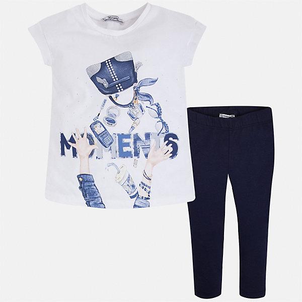 Купить Комплект: блузка и леггинсы для девочки Mayoral, Китай, синий, 92, 134, 128, 122, 116, 110, 104, 98, Женский