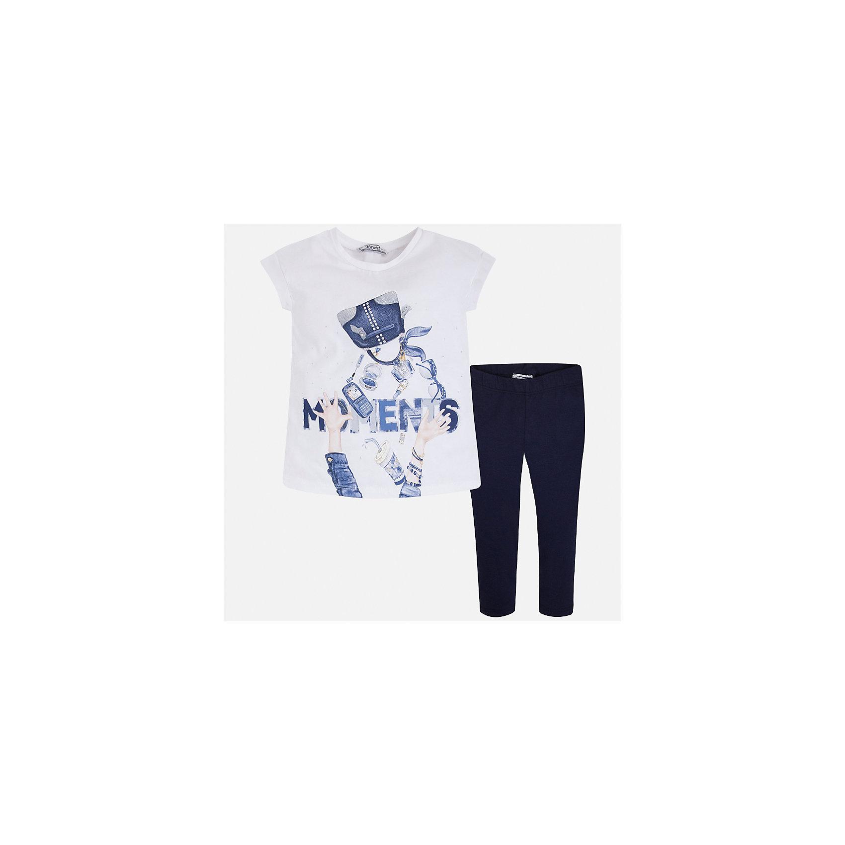 Комплект: блузка и леггинсы для девочки MayoralКомплекты<br>Характеристики товара:<br><br>• цвет: белый/синий<br>• состав: 95% хлопок, 5% эластан<br>• комплектация: футболка, леггинсы<br>• футболка декорирована принтом <br>• леггинсы однотонные<br>• пояс на резинке<br>• страна бренда: Испания<br><br>Красивый качественный комплект для девочки поможет разнообразить гардероб ребенка и удобно одеться в теплую погоду. Он отлично сочетается с другими предметами. Универсальный цвет позволяет подобрать к вещам верхнюю одежду практически любой расцветки. Интересная отделка модели делает её нарядной и оригинальной. В составе материала - натуральный хлопок, гипоаллергенный, приятный на ощупь, дышащий.<br><br>Одежда, обувь и аксессуары от испанского бренда Mayoral полюбились детям и взрослым по всему миру. Модели этой марки - стильные и удобные. Для их производства используются только безопасные, качественные материалы и фурнитура. Порадуйте ребенка модными и красивыми вещами от Mayoral! <br><br>Комплект для девочки от испанского бренда Mayoral (Майорал) можно купить в нашем интернет-магазине.<br><br>Ширина мм: 123<br>Глубина мм: 10<br>Высота мм: 149<br>Вес г: 209<br>Цвет: синий<br>Возраст от месяцев: 96<br>Возраст до месяцев: 108<br>Пол: Женский<br>Возраст: Детский<br>Размер: 134,92,98,104,110,116,122,128<br>SKU: 5300524