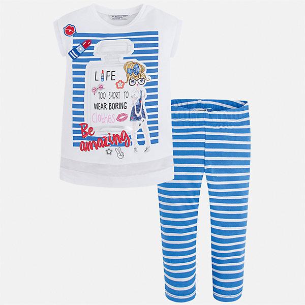 Комплект: футболка с длинным рукавом и леггинсы для девочки MayoralКомплекты<br>Характеристики товара:<br><br>• цвет: голубой/белый<br>• состав: 95% хлопок, 5% эластан<br>• комплектация: футболка, леггинсы<br>• футболка декорирована принтом <br>• леггинсы в полоску<br>• пояс на резинке<br>• страна бренда: Испания<br><br>Красивый качественный комплект для девочки поможет разнообразить гардероб ребенка и удобно одеться в теплую погоду. Он отлично сочетается с другими предметами. Универсальный цвет позволяет подобрать к вещам верхнюю одежду практически любой расцветки. Интересная отделка модели делает её нарядной и оригинальной. В составе материала - натуральный хлопок, гипоаллергенный, приятный на ощупь, дышащий.<br><br>Одежда, обувь и аксессуары от испанского бренда Mayoral полюбились детям и взрослым по всему миру. Модели этой марки - стильные и удобные. Для их производства используются только безопасные, качественные материалы и фурнитура. Порадуйте ребенка модными и красивыми вещами от Mayoral! <br><br>Комплект для девочки от испанского бренда Mayoral (Майорал) можно купить в нашем интернет-магазине.<br>Ширина мм: 123; Глубина мм: 10; Высота мм: 149; Вес г: 209; Цвет: синий; Возраст от месяцев: 24; Возраст до месяцев: 36; Пол: Женский; Возраст: Детский; Размер: 98,116,110,104,92,134,128,122; SKU: 5300533;