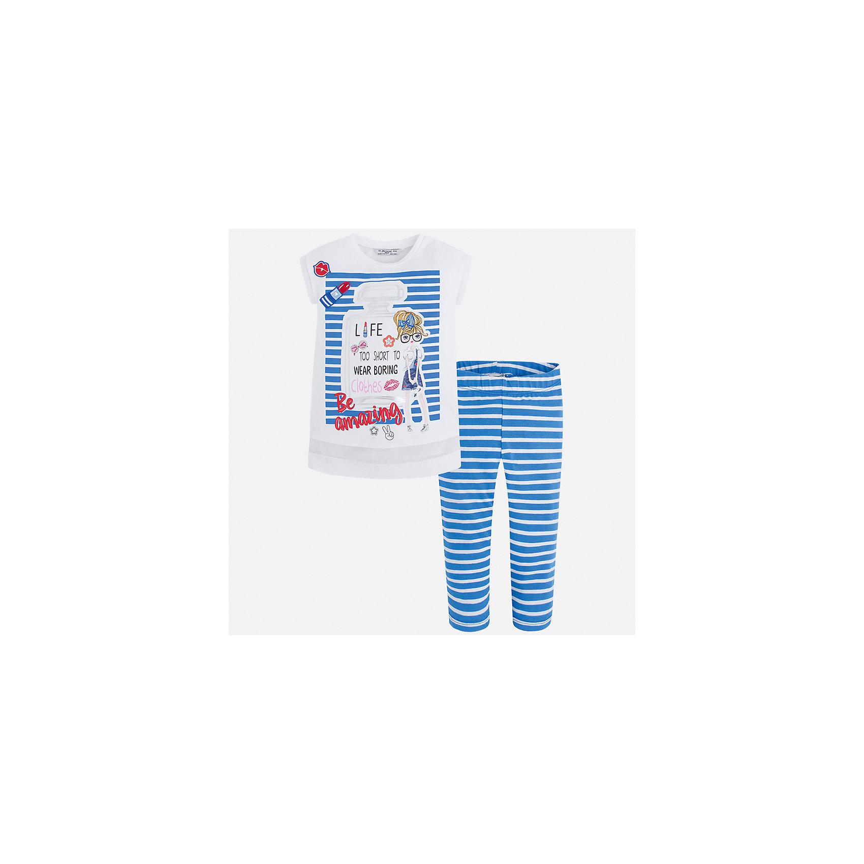 Комплект: футболка с длинным рукавом и леггинсы для девочки MayoralКомплекты<br>Характеристики товара:<br><br>• цвет: голубой/белый<br>• состав: 95% хлопок, 5% эластан<br>• комплектация: футболка, леггинсы<br>• футболка декорирована принтом <br>• леггинсы в полоску<br>• пояс на резинке<br>• страна бренда: Испания<br><br>Красивый качественный комплект для девочки поможет разнообразить гардероб ребенка и удобно одеться в теплую погоду. Он отлично сочетается с другими предметами. Универсальный цвет позволяет подобрать к вещам верхнюю одежду практически любой расцветки. Интересная отделка модели делает её нарядной и оригинальной. В составе материала - натуральный хлопок, гипоаллергенный, приятный на ощупь, дышащий.<br><br>Одежда, обувь и аксессуары от испанского бренда Mayoral полюбились детям и взрослым по всему миру. Модели этой марки - стильные и удобные. Для их производства используются только безопасные, качественные материалы и фурнитура. Порадуйте ребенка модными и красивыми вещами от Mayoral! <br><br>Комплект для девочки от испанского бренда Mayoral (Майорал) можно купить в нашем интернет-магазине.<br><br>Ширина мм: 123<br>Глубина мм: 10<br>Высота мм: 149<br>Вес г: 209<br>Цвет: синий<br>Возраст от месяцев: 96<br>Возраст до месяцев: 108<br>Пол: Женский<br>Возраст: Детский<br>Размер: 134,128,122,116,110,104,98,92<br>SKU: 5300533