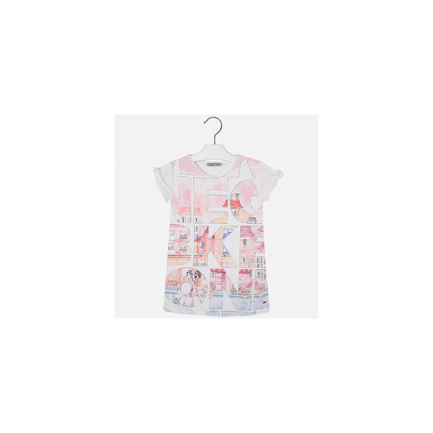 Платье для девочки MayoralЛетние платья и сарафаны<br>Характеристики товара:<br><br>• цвет: бело-розовый<br>• состав: 43% хлопок, 28% вискоза, 25% полиэстер, 4% эластан<br>• без застежки<br>• прямой силуэт<br>• короткие рукава<br>• декорировано принтом<br>• страна бренда: Испания<br><br>Стильное платье для девочки поможет разнообразить гардероб ребенка и создать эффектный наряд. Оно подойдет для различных случаев. Красивый оттенок позволяет подобрать к вещи обувь разных расцветок. Платье хорошо сидит по фигуре. В составе материала - натуральный хлопок, гипоаллергенный, приятный на ощупь, дышащий.<br><br>Одежда, обувь и аксессуары от испанского бренда Mayoral полюбились детям и взрослым по всему миру. Модели этой марки - стильные и удобные. Для их производства используются только безопасные, качественные материалы и фурнитура. Порадуйте ребенка модными и красивыми вещами от Mayoral! <br><br>Платье для девочки от испанского бренда Mayoral (Майорал) можно купить в нашем интернет-магазине.<br><br>Ширина мм: 236<br>Глубина мм: 16<br>Высота мм: 184<br>Вес г: 177<br>Цвет: розовый<br>Возраст от месяцев: 36<br>Возраст до месяцев: 48<br>Пол: Женский<br>Возраст: Детский<br>Размер: 104,110,116,122,128,134,98,92<br>SKU: 5300578