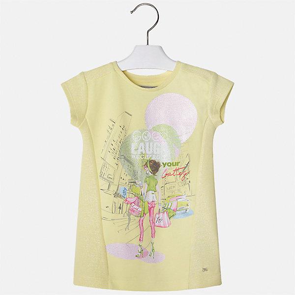 Платье для девочки MayoralЛетние платья и сарафаны<br>Характеристики товара:<br><br>• цвет: желтый<br>• состав: 53% хлопок, 12% вискоза, 33% полиэстер, 2% эластан<br>• без застежки<br>• прямой силуэт<br>• короткие рукава<br>• декорировано принтом<br>• страна бренда: Испания<br><br>Стильное платье для девочки поможет разнообразить гардероб ребенка и создать эффектный наряд. Оно подойдет для различных случаев. Красивый оттенок позволяет подобрать к вещи обувь разных расцветок. Платье хорошо сидит по фигуре. В составе материала - натуральный хлопок, гипоаллергенный, приятный на ощупь, дышащий.<br><br>Одежда, обувь и аксессуары от испанского бренда Mayoral полюбились детям и взрослым по всему миру. Модели этой марки - стильные и удобные. Для их производства используются только безопасные, качественные материалы и фурнитура. Порадуйте ребенка модными и красивыми вещами от Mayoral! <br><br>Платье для девочки от испанского бренда Mayoral (Майорал) можно купить в нашем интернет-магазине.<br><br>Ширина мм: 236<br>Глубина мм: 16<br>Высота мм: 184<br>Вес г: 177<br>Цвет: желтый<br>Возраст от месяцев: 96<br>Возраст до месяцев: 108<br>Пол: Женский<br>Возраст: Детский<br>Размер: 134,110,116,122,128,92,98,104<br>SKU: 5300605