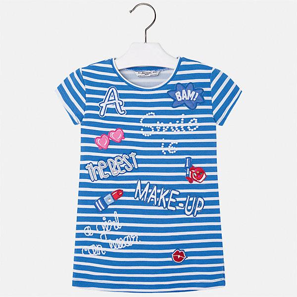 Платье для девочки MayoralПлатья и сарафаны<br>Характеристики товара:<br><br>• цвет: синий<br>• состав: 95% полиэстер, 5% эластан<br>• без застежки<br>• прямой силуэт<br>• короткие рукава<br>• декорировано принтом<br>• страна бренда: Испания<br><br>Стильное платье для девочки поможет разнообразить гардероб ребенка и создать эффектный наряд. Оно подойдет для различных случаев. Красивый оттенок позволяет подобрать к вещи обувь разных расцветок. Платье хорошо сидит по фигуре. <br><br>Одежда, обувь и аксессуары от испанского бренда Mayoral полюбились детям и взрослым по всему миру. Модели этой марки - стильные и удобные. Для их производства используются только безопасные, качественные материалы и фурнитура. Порадуйте ребенка модными и красивыми вещами от Mayoral! <br><br>Платье для девочки от испанского бренда Mayoral (Майорал) можно купить в нашем интернет-магазине.<br>Ширина мм: 236; Глубина мм: 16; Высота мм: 184; Вес г: 177; Цвет: синий; Возраст от месяцев: 48; Возраст до месяцев: 60; Пол: Женский; Возраст: Детский; Размер: 110,116,104,98,134,128,122; SKU: 5300620;