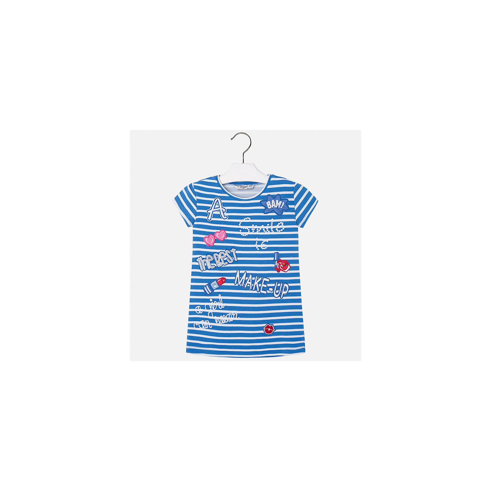 Платье для девочки MayoralПлатья и сарафаны<br>Характеристики товара:<br><br>• цвет: синий<br>• состав: 95% полиэстер, 5% эластан<br>• без застежки<br>• прямой силуэт<br>• короткие рукава<br>• декорировано принтом<br>• страна бренда: Испания<br><br>Стильное платье для девочки поможет разнообразить гардероб ребенка и создать эффектный наряд. Оно подойдет для различных случаев. Красивый оттенок позволяет подобрать к вещи обувь разных расцветок. Платье хорошо сидит по фигуре. <br><br>Одежда, обувь и аксессуары от испанского бренда Mayoral полюбились детям и взрослым по всему миру. Модели этой марки - стильные и удобные. Для их производства используются только безопасные, качественные материалы и фурнитура. Порадуйте ребенка модными и красивыми вещами от Mayoral! <br><br>Платье для девочки от испанского бренда Mayoral (Майорал) можно купить в нашем интернет-магазине.<br><br>Ширина мм: 236<br>Глубина мм: 16<br>Высота мм: 184<br>Вес г: 177<br>Цвет: синий<br>Возраст от месяцев: 96<br>Возраст до месяцев: 108<br>Пол: Женский<br>Возраст: Детский<br>Размер: 134,98,104,110,116,122,128<br>SKU: 5300620