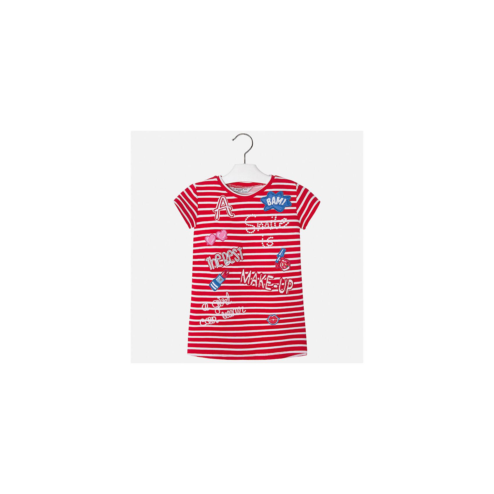 Платье для девочки MayoralЛетние платья и сарафаны<br>Характеристики товара:<br><br>• цвет: красный<br>• состав: 95% полиэстер, 5% эластан<br>• без застежки<br>• прямой силуэт<br>• короткие рукава<br>• декорировано принтом<br>• страна бренда: Испания<br><br>Стильное платье для девочки поможет разнообразить гардероб ребенка и создать эффектный наряд. Оно подойдет для различных случаев. Красивый оттенок позволяет подобрать к вещи обувь разных расцветок. Платье хорошо сидит по фигуре. <br><br>Одежда, обувь и аксессуары от испанского бренда Mayoral полюбились детям и взрослым по всему миру. Модели этой марки - стильные и удобные. Для их производства используются только безопасные, качественные материалы и фурнитура. Порадуйте ребенка модными и красивыми вещами от Mayoral! <br><br>Платье для девочки от испанского бренда Mayoral (Майорал) можно купить в нашем интернет-магазине.<br><br>Ширина мм: 236<br>Глубина мм: 16<br>Высота мм: 184<br>Вес г: 177<br>Цвет: красный<br>Возраст от месяцев: 96<br>Возраст до месяцев: 108<br>Пол: Женский<br>Возраст: Детский<br>Размер: 134,98,104,110,116,122,128<br>SKU: 5300628
