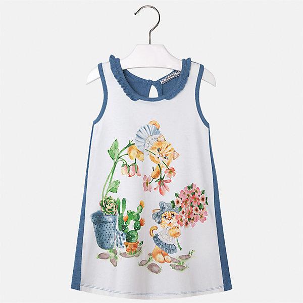 Платье для девочки MayoralПлатья и сарафаны<br>Характеристики товара:<br><br>• цвет: белый/синий<br>• состав: 95% хлопок, 5% эластан<br>• застежка: пуговица<br>• комбинированный материал<br>• без рукавов<br>• декорировано принтом<br>• страна бренда: Испания<br><br>Стильное платье для девочки поможет разнообразить гардероб ребенка и создать эффектный наряд. Оно подойдет для различных случаев. Красивый оттенок позволяет подобрать к вещи обувь разных расцветок. Платье хорошо сидит по фигуре. В составе материала - натуральный хлопок, гипоаллергенный, приятный на ощупь, дышащий.<br><br>Одежда, обувь и аксессуары от испанского бренда Mayoral полюбились детям и взрослым по всему миру. Модели этой марки - стильные и удобные. Для их производства используются только безопасные, качественные материалы и фурнитура. Порадуйте ребенка модными и красивыми вещами от Mayoral! <br><br>Платье для девочки от испанского бренда Mayoral (Майорал) можно купить в нашем интернет-магазине.<br>Ширина мм: 236; Глубина мм: 16; Высота мм: 184; Вес г: 177; Цвет: голубой; Возраст от месяцев: 60; Возраст до месяцев: 72; Пол: Женский; Возраст: Детский; Размер: 116,92,110,104,98; SKU: 5300636;