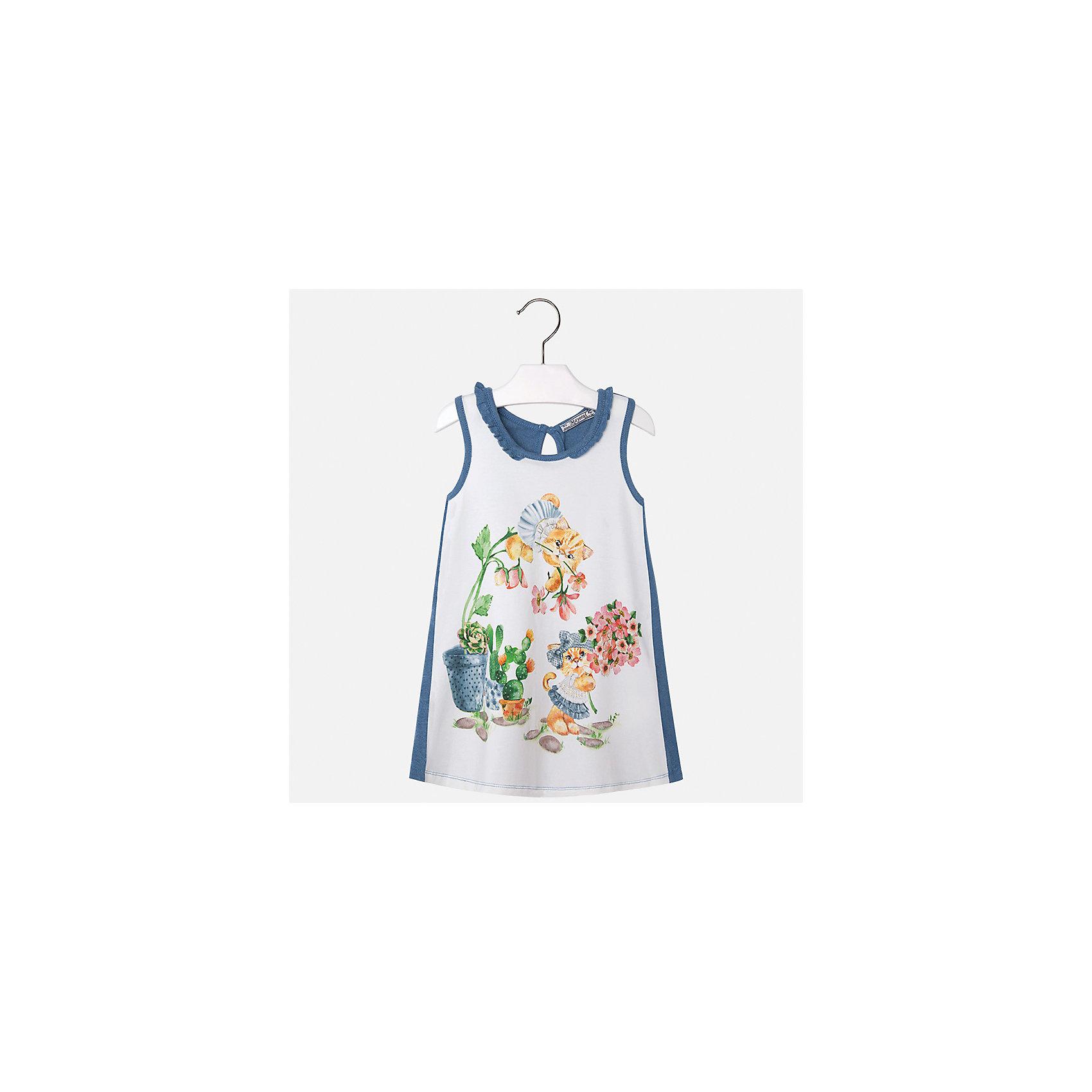Платье для девочки MayoralЛетние платья и сарафаны<br>Характеристики товара:<br><br>• цвет: белый/синий<br>• состав: 95% хлопок, 5% эластан<br>• застежка: пуговица<br>• комбинированный материал<br>• без рукавов<br>• декорировано принтом<br>• страна бренда: Испания<br><br>Стильное платье для девочки поможет разнообразить гардероб ребенка и создать эффектный наряд. Оно подойдет для различных случаев. Красивый оттенок позволяет подобрать к вещи обувь разных расцветок. Платье хорошо сидит по фигуре. В составе материала - натуральный хлопок, гипоаллергенный, приятный на ощупь, дышащий.<br><br>Одежда, обувь и аксессуары от испанского бренда Mayoral полюбились детям и взрослым по всему миру. Модели этой марки - стильные и удобные. Для их производства используются только безопасные, качественные материалы и фурнитура. Порадуйте ребенка модными и красивыми вещами от Mayoral! <br><br>Платье для девочки от испанского бренда Mayoral (Майорал) можно купить в нашем интернет-магазине.<br><br>Ширина мм: 236<br>Глубина мм: 16<br>Высота мм: 184<br>Вес г: 177<br>Цвет: голубой<br>Возраст от месяцев: 48<br>Возраст до месяцев: 60<br>Пол: Женский<br>Возраст: Детский<br>Размер: 110,116,92,98,104<br>SKU: 5300636