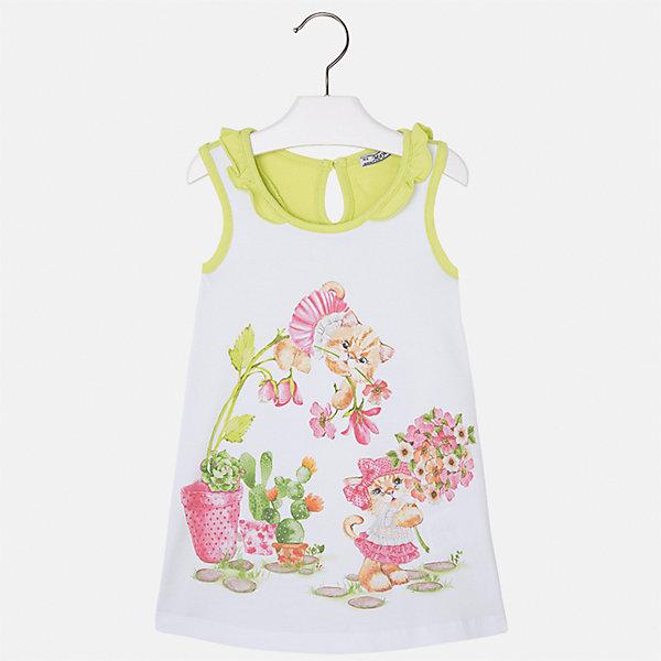 Платье для девочки MayoralПлатья и сарафаны<br>Характеристики товара:<br><br>• цвет: белый/зеленый<br>• состав: 95% хлопок, 5% эластан<br>• застежка: пуговица<br>• комбинированный материал<br>• без рукавов<br>• декорировано принтом<br>• страна бренда: Испания<br><br>Стильное платье для девочки поможет разнообразить гардероб ребенка и создать эффектный наряд. Оно подойдет для различных случаев. Красивый оттенок позволяет подобрать к вещи обувь разных расцветок. Платье хорошо сидит по фигуре. В составе материала - натуральный хлопок, гипоаллергенный, приятный на ощупь, дышащий.<br><br>Одежда, обувь и аксессуары от испанского бренда Mayoral полюбились детям и взрослым по всему миру. Модели этой марки - стильные и удобные. Для их производства используются только безопасные, качественные материалы и фурнитура. Порадуйте ребенка модными и красивыми вещами от Mayoral! <br><br>Платье для девочки от испанского бренда Mayoral (Майорал) можно купить в нашем интернет-магазине.<br><br>Ширина мм: 236<br>Глубина мм: 16<br>Высота мм: 184<br>Вес г: 177<br>Цвет: зеленый<br>Возраст от месяцев: 60<br>Возраст до месяцев: 72<br>Пол: Женский<br>Возраст: Детский<br>Размер: 116,92,110,104,98<br>SKU: 5300642