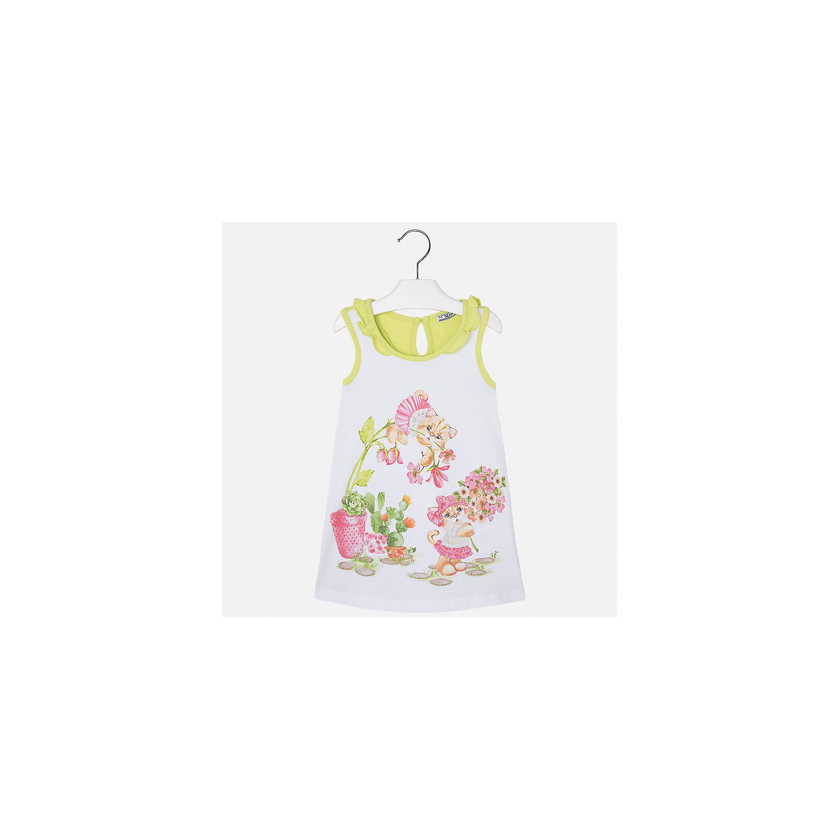 Платье для девочки MayoralПлатья и сарафаны<br>Характеристики товара:<br><br>• цвет: белый/зеленый<br>• состав: 95% хлопок, 5% эластан<br>• застежка: пуговица<br>• комбинированный материал<br>• без рукавов<br>• декорировано принтом<br>• страна бренда: Испания<br><br>Стильное платье для девочки поможет разнообразить гардероб ребенка и создать эффектный наряд. Оно подойдет для различных случаев. Красивый оттенок позволяет подобрать к вещи обувь разных расцветок. Платье хорошо сидит по фигуре. В составе материала - натуральный хлопок, гипоаллергенный, приятный на ощупь, дышащий.<br><br>Одежда, обувь и аксессуары от испанского бренда Mayoral полюбились детям и взрослым по всему миру. Модели этой марки - стильные и удобные. Для их производства используются только безопасные, качественные материалы и фурнитура. Порадуйте ребенка модными и красивыми вещами от Mayoral! <br><br>Платье для девочки от испанского бренда Mayoral (Майорал) можно купить в нашем интернет-магазине.<br><br>Ширина мм: 236<br>Глубина мм: 16<br>Высота мм: 184<br>Вес г: 177<br>Цвет: зеленый<br>Возраст от месяцев: 60<br>Возраст до месяцев: 72<br>Пол: Женский<br>Возраст: Детский<br>Размер: 116,92,98,104,110<br>SKU: 5300642