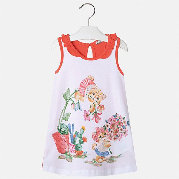 Платье для девочки MayoralПлатья и сарафаны<br>Характеристики товара:<br><br>• цвет: белый/красный<br>• состав: 95% хлопок, 5% эластан<br>• застежка: пуговица<br>• комбинированный материал<br>• без рукавов<br>• декорировано принтом<br>• страна бренда: Испания<br><br>Стильное платье для девочки поможет разнообразить гардероб ребенка и создать эффектный наряд. Оно подойдет для различных случаев. Красивый оттенок позволяет подобрать к вещи обувь разных расцветок. Платье хорошо сидит по фигуре. В составе материала - натуральный хлопок, гипоаллергенный, приятный на ощупь, дышащий.<br><br>Одежда, обувь и аксессуары от испанского бренда Mayoral полюбились детям и взрослым по всему миру. Модели этой марки - стильные и удобные. Для их производства используются только безопасные, качественные материалы и фурнитура. Порадуйте ребенка модными и красивыми вещами от Mayoral! <br><br>Платье для девочки от испанского бренда Mayoral (Майорал) можно купить в нашем интернет-магазине.<br><br>Ширина мм: 236<br>Глубина мм: 16<br>Высота мм: 184<br>Вес г: 177<br>Цвет: красный<br>Возраст от месяцев: 48<br>Возраст до месяцев: 60<br>Пол: Женский<br>Возраст: Детский<br>Размер: 110,92,116,104,98<br>SKU: 5300648