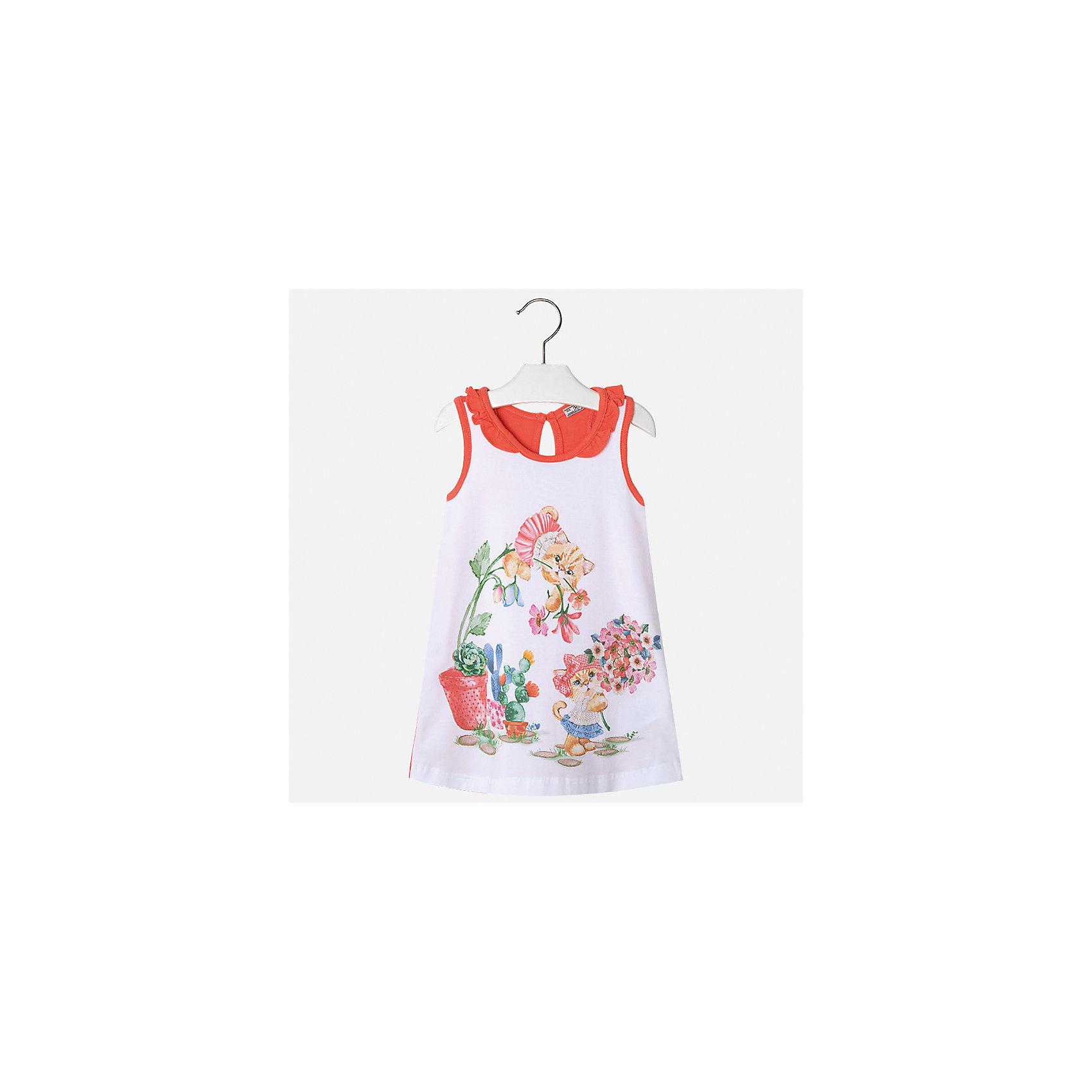 Платье для девочки MayoralЛетние платья и сарафаны<br>Характеристики товара:<br><br>• цвет: белый/красный<br>• состав: 95% хлопок, 5% эластан<br>• застежка: пуговица<br>• комбинированный материал<br>• без рукавов<br>• декорировано принтом<br>• страна бренда: Испания<br><br>Стильное платье для девочки поможет разнообразить гардероб ребенка и создать эффектный наряд. Оно подойдет для различных случаев. Красивый оттенок позволяет подобрать к вещи обувь разных расцветок. Платье хорошо сидит по фигуре. В составе материала - натуральный хлопок, гипоаллергенный, приятный на ощупь, дышащий.<br><br>Одежда, обувь и аксессуары от испанского бренда Mayoral полюбились детям и взрослым по всему миру. Модели этой марки - стильные и удобные. Для их производства используются только безопасные, качественные материалы и фурнитура. Порадуйте ребенка модными и красивыми вещами от Mayoral! <br><br>Платье для девочки от испанского бренда Mayoral (Майорал) можно купить в нашем интернет-магазине.<br><br>Ширина мм: 236<br>Глубина мм: 16<br>Высота мм: 184<br>Вес г: 177<br>Цвет: красный<br>Возраст от месяцев: 60<br>Возраст до месяцев: 72<br>Пол: Женский<br>Возраст: Детский<br>Размер: 116,92,98,104,110<br>SKU: 5300648