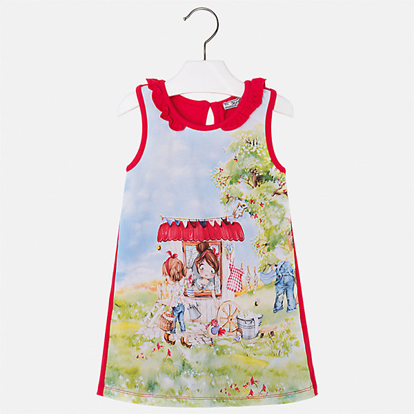 Платье для девочки MayoralПлатья и сарафаны<br>Характеристики товара:<br><br>• цвет: мультиколор/красный<br>• состав: 95% хлопок, 5% эластан<br>• застежка: пуговица<br>• комбинированный материал<br>• без рукавов<br>• декорировано принтом<br>• страна бренда: Испания<br><br>Стильное платье для девочки поможет разнообразить гардероб ребенка и создать эффектный наряд. Оно подойдет для различных случаев. Красивый оттенок позволяет подобрать к вещи обувь разных расцветок. Платье хорошо сидит по фигуре. В составе материала - натуральный хлопок, гипоаллергенный, приятный на ощупь, дышащий.<br><br>Одежда, обувь и аксессуары от испанского бренда Mayoral полюбились детям и взрослым по всему миру. Модели этой марки - стильные и удобные. Для их производства используются только безопасные, качественные материалы и фурнитура. Порадуйте ребенка модными и красивыми вещами от Mayoral! <br><br>Платье для девочки от испанского бренда Mayoral (Майорал) можно купить в нашем интернет-магазине.<br>Ширина мм: 236; Глубина мм: 16; Высота мм: 184; Вес г: 177; Цвет: красный; Возраст от месяцев: 18; Возраст до месяцев: 24; Пол: Женский; Возраст: Детский; Размер: 92,110,116,122,128,134,98,104; SKU: 5300654;