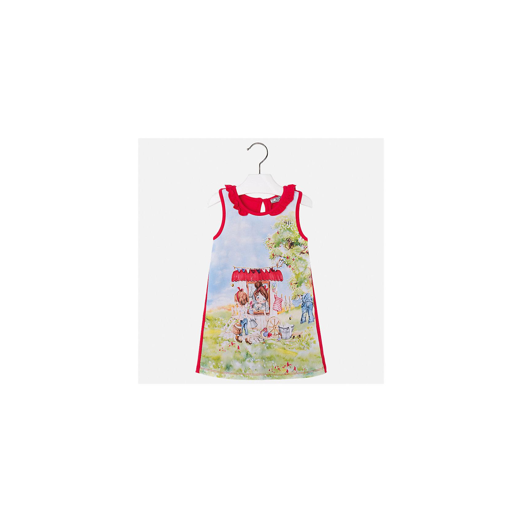 Платье для девочки MayoralПлатья и сарафаны<br>Характеристики товара:<br><br>• цвет: мультиколор/красный<br>• состав: 95% хлопок, 5% эластан<br>• застежка: пуговица<br>• комбинированный материал<br>• без рукавов<br>• декорировано принтом<br>• страна бренда: Испания<br><br>Стильное платье для девочки поможет разнообразить гардероб ребенка и создать эффектный наряд. Оно подойдет для различных случаев. Красивый оттенок позволяет подобрать к вещи обувь разных расцветок. Платье хорошо сидит по фигуре. В составе материала - натуральный хлопок, гипоаллергенный, приятный на ощупь, дышащий.<br><br>Одежда, обувь и аксессуары от испанского бренда Mayoral полюбились детям и взрослым по всему миру. Модели этой марки - стильные и удобные. Для их производства используются только безопасные, качественные материалы и фурнитура. Порадуйте ребенка модными и красивыми вещами от Mayoral! <br><br>Платье для девочки от испанского бренда Mayoral (Майорал) можно купить в нашем интернет-магазине.<br><br>Ширина мм: 236<br>Глубина мм: 16<br>Высота мм: 184<br>Вес г: 177<br>Цвет: красный<br>Возраст от месяцев: 18<br>Возраст до месяцев: 24<br>Пол: Женский<br>Возраст: Детский<br>Размер: 92,134,98,104,110,116,122,128<br>SKU: 5300654