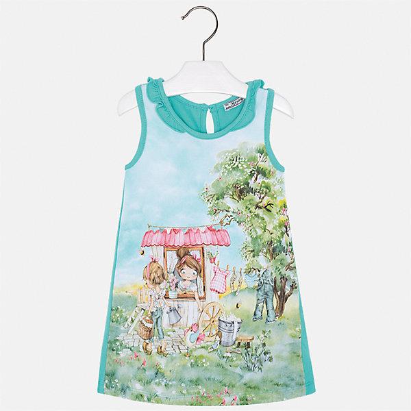 Платье для девочки MayoralПлатья и сарафаны<br>Характеристики товара:<br><br>• цвет: зеленый<br>• состав: 95% хлопок, 5% эластан<br>• застежка: пуговица<br>• комбинированный материал<br>• без рукавов<br>• декорировано принтом<br>• страна бренда: Испания<br><br>Стильное платье для девочки поможет разнообразить гардероб ребенка и создать эффектный наряд. Оно подойдет для различных случаев. Красивый оттенок позволяет подобрать к вещи обувь разных расцветок. Платье хорошо сидит по фигуре. В составе материала - натуральный хлопок, гипоаллергенный, приятный на ощупь, дышащий.<br><br>Одежда, обувь и аксессуары от испанского бренда Mayoral полюбились детям и взрослым по всему миру. Модели этой марки - стильные и удобные. Для их производства используются только безопасные, качественные материалы и фурнитура. Порадуйте ребенка модными и красивыми вещами от Mayoral! <br><br>Платье для девочки от испанского бренда Mayoral (Майорал) можно купить в нашем интернет-магазине.<br>Ширина мм: 236; Глубина мм: 16; Высота мм: 184; Вес г: 177; Цвет: синий; Возраст от месяцев: 36; Возраст до месяцев: 48; Пол: Женский; Возраст: Детский; Размер: 104,92,134,128,122,116,110,98; SKU: 5300663;