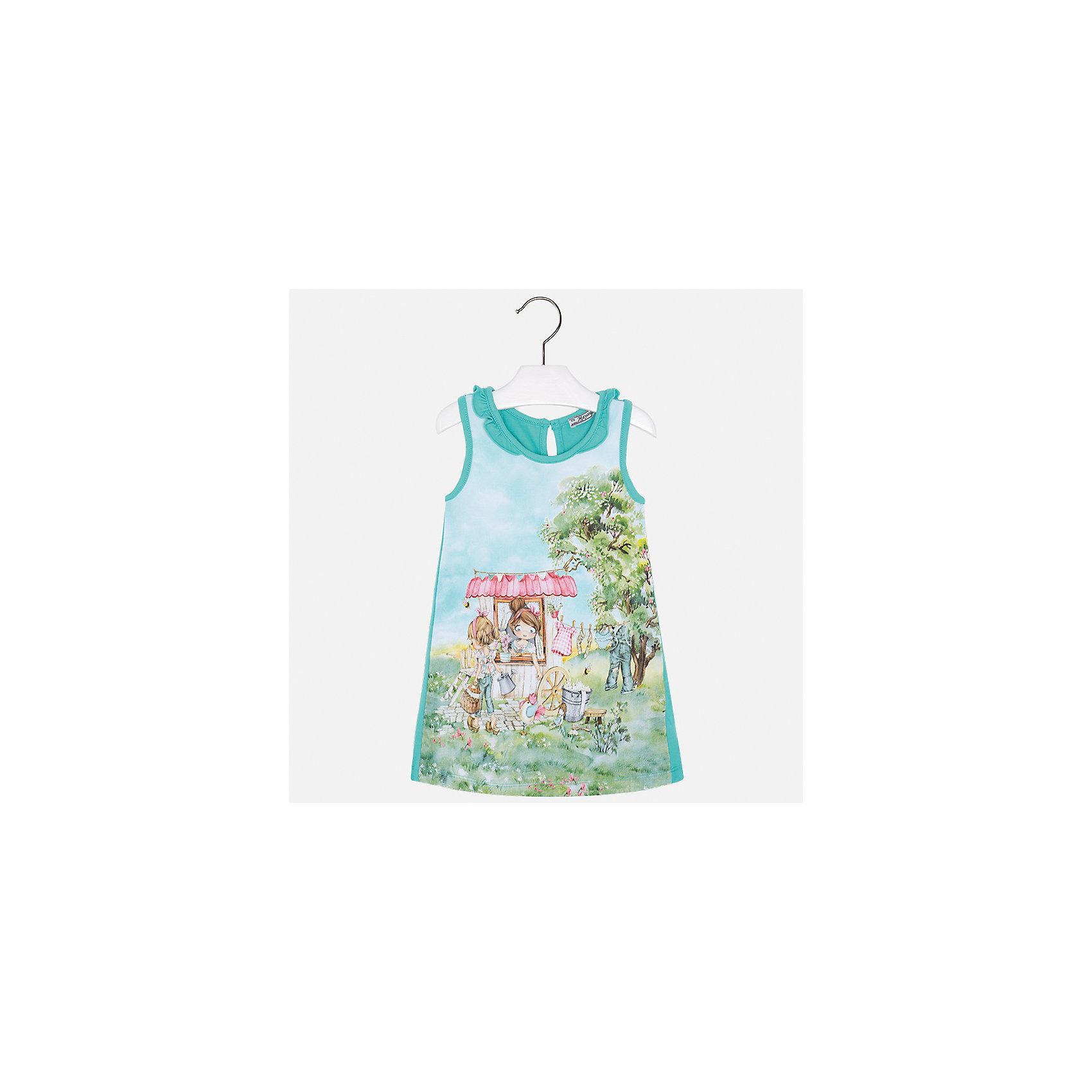 Платье для девочки MayoralЛетние платья и сарафаны<br>Характеристики товара:<br><br>• цвет: зеленый<br>• состав: 95% хлопок, 5% эластан<br>• застежка: пуговица<br>• комбинированный материал<br>• без рукавов<br>• декорировано принтом<br>• страна бренда: Испания<br><br>Стильное платье для девочки поможет разнообразить гардероб ребенка и создать эффектный наряд. Оно подойдет для различных случаев. Красивый оттенок позволяет подобрать к вещи обувь разных расцветок. Платье хорошо сидит по фигуре. В составе материала - натуральный хлопок, гипоаллергенный, приятный на ощупь, дышащий.<br><br>Одежда, обувь и аксессуары от испанского бренда Mayoral полюбились детям и взрослым по всему миру. Модели этой марки - стильные и удобные. Для их производства используются только безопасные, качественные материалы и фурнитура. Порадуйте ребенка модными и красивыми вещами от Mayoral! <br><br>Платье для девочки от испанского бренда Mayoral (Майорал) можно купить в нашем интернет-магазине.<br><br>Ширина мм: 236<br>Глубина мм: 16<br>Высота мм: 184<br>Вес г: 177<br>Цвет: синий<br>Возраст от месяцев: 24<br>Возраст до месяцев: 36<br>Пол: Женский<br>Возраст: Детский<br>Размер: 98,134,92,104,110,116,122,128<br>SKU: 5300663
