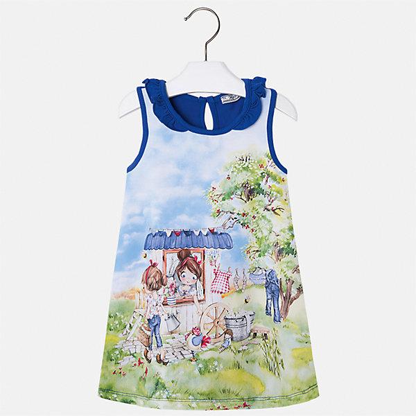 Платье для девочки MayoralПлатья и сарафаны<br>Характеристики товара:<br><br>• цвет: синий<br>• состав: 95% хлопок, 5% эластан<br>• застежка: пуговица<br>• комбинированный материал<br>• без рукавов<br>• декорировано принтом<br>• страна бренда: Испания<br><br>Стильное платье для девочки поможет разнообразить гардероб ребенка и создать эффектный наряд. Оно подойдет для различных случаев. Красивый оттенок позволяет подобрать к вещи обувь разных расцветок. Платье хорошо сидит по фигуре. В составе материала - натуральный хлопок, гипоаллергенный, приятный на ощупь, дышащий.<br><br>Одежда, обувь и аксессуары от испанского бренда Mayoral полюбились детям и взрослым по всему миру. Модели этой марки - стильные и удобные. Для их производства используются только безопасные, качественные материалы и фурнитура. Порадуйте ребенка модными и красивыми вещами от Mayoral! <br><br>Платье для девочки от испанского бренда Mayoral (Майорал) можно купить в нашем интернет-магазине.<br>Ширина мм: 236; Глубина мм: 16; Высота мм: 184; Вес г: 177; Цвет: синий; Возраст от месяцев: 18; Возраст до месяцев: 24; Пол: Женский; Возраст: Детский; Размер: 116,110,104,98,92,134,128,122; SKU: 5300672;