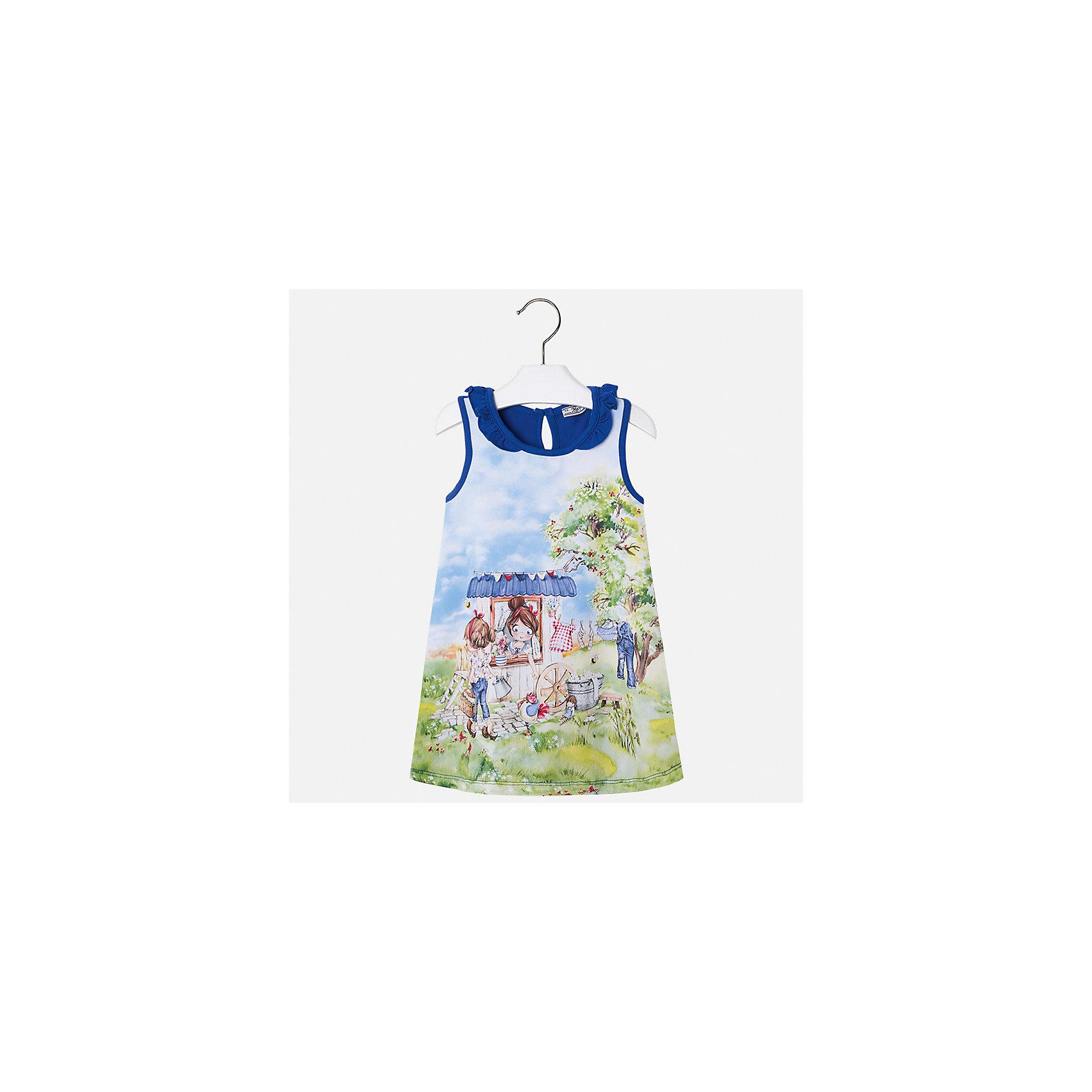 Платье для девочки MayoralЛетние платья и сарафаны<br>Характеристики товара:<br><br>• цвет: синий<br>• состав: 95% хлопок, 5% эластан<br>• застежка: пуговица<br>• комбинированный материал<br>• без рукавов<br>• декорировано принтом<br>• страна бренда: Испания<br><br>Стильное платье для девочки поможет разнообразить гардероб ребенка и создать эффектный наряд. Оно подойдет для различных случаев. Красивый оттенок позволяет подобрать к вещи обувь разных расцветок. Платье хорошо сидит по фигуре. В составе материала - натуральный хлопок, гипоаллергенный, приятный на ощупь, дышащий.<br><br>Одежда, обувь и аксессуары от испанского бренда Mayoral полюбились детям и взрослым по всему миру. Модели этой марки - стильные и удобные. Для их производства используются только безопасные, качественные материалы и фурнитура. Порадуйте ребенка модными и красивыми вещами от Mayoral! <br><br>Платье для девочки от испанского бренда Mayoral (Майорал) можно купить в нашем интернет-магазине.<br><br>Ширина мм: 236<br>Глубина мм: 16<br>Высота мм: 184<br>Вес г: 177<br>Цвет: синий<br>Возраст от месяцев: 96<br>Возраст до месяцев: 108<br>Пол: Женский<br>Возраст: Детский<br>Размер: 134,92,98,104,110,116,122,128<br>SKU: 5300672