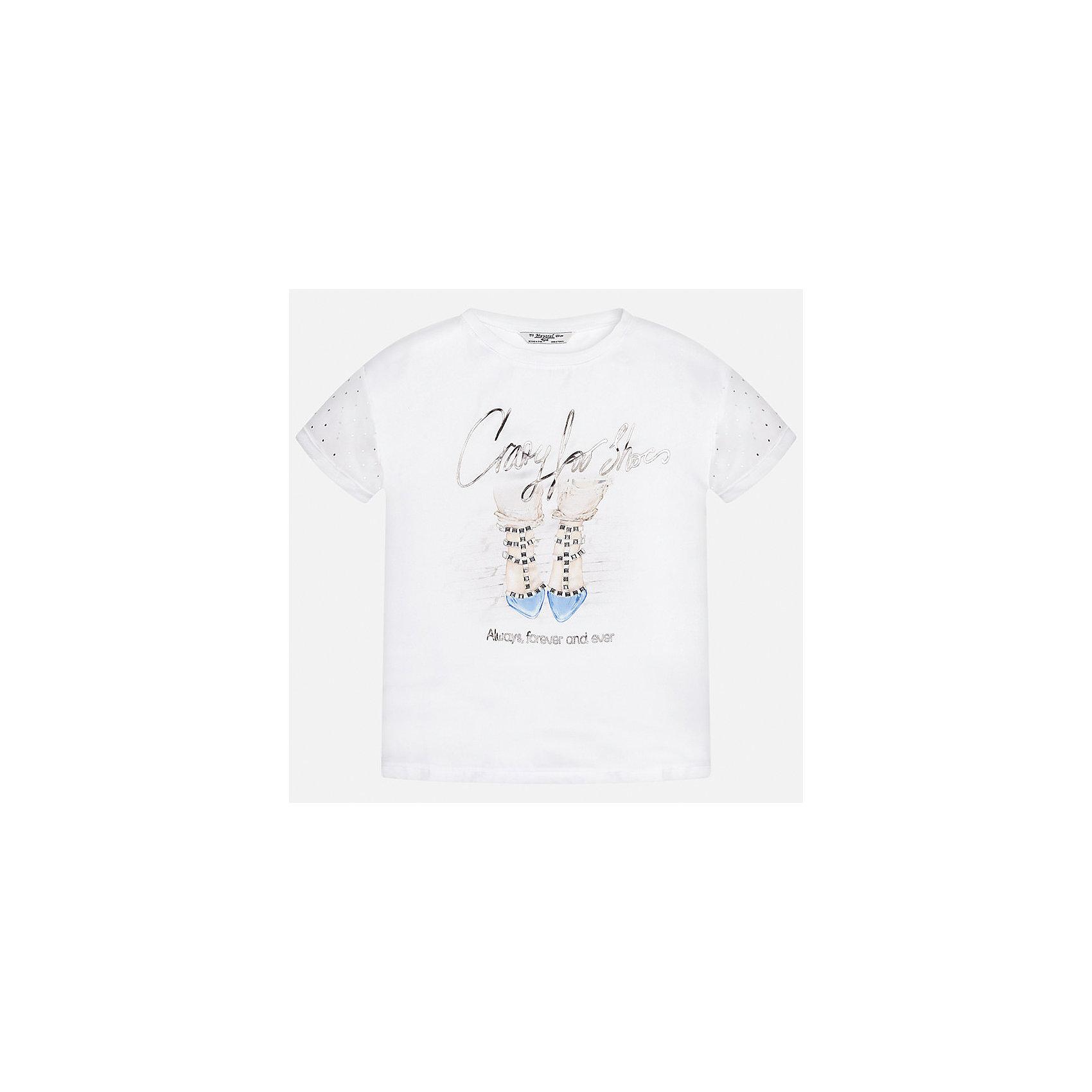 Футболка для девочки MayoralХарактеристики товара:<br><br>• цвет: белый<br>• состав: 60% полиэстер, 40% вискоза<br>• эластичный материал<br>• декорирована принтом<br>• короткие рукава<br>• округлый горловой вырез<br>• страна бренда: Испания<br><br>Модная качественная футболка для девочки поможет разнообразить гардероб ребенка и украсить наряд. Она отлично сочетается и с юбками, и с шортами, и с брюками. Универсальный цвет позволяет подобрать к вещи низ практически любой расцветки. Интересная отделка модели делает её нарядной и оригинальной.<br><br>Одежда, обувь и аксессуары от испанского бренда Mayoral полюбились детям и взрослым по всему миру. Модели этой марки - стильные и удобные. Для их производства используются только безопасные, качественные материалы и фурнитура. Порадуйте ребенка модными и красивыми вещами от Mayoral! <br><br>Футболку для девочки от испанского бренда Mayoral (Майорал) можно купить в нашем интернет-магазине.<br><br>Ширина мм: 199<br>Глубина мм: 10<br>Высота мм: 161<br>Вес г: 151<br>Цвет: голубой<br>Возраст от месяцев: 84<br>Возраст до месяцев: 96<br>Пол: Женский<br>Возраст: Детский<br>Размер: 128/134,170,140,152,158,164<br>SKU: 5300688