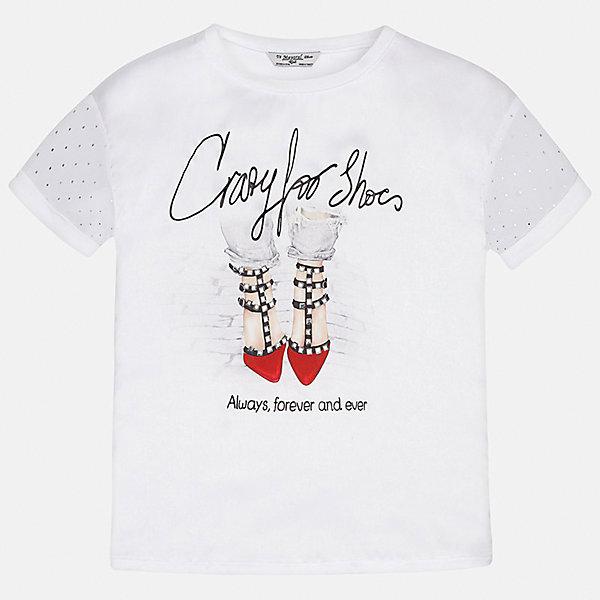 Футболка для девочки MayoralФутболки, поло и топы<br>Характеристики товара:<br><br>• цвет: белый<br>• состав: 60% полиэстер, 40% вискоза<br>• эластичный материал<br>• декорирована принтом<br>• короткие рукава<br>• округлый горловой вырез<br>• страна бренда: Испания<br><br>Модная качественная футболка для девочки поможет разнообразить гардероб ребенка и украсить наряд. Она отлично сочетается и с юбками, и с шортами, и с брюками. Универсальный цвет позволяет подобрать к вещи низ практически любой расцветки. Интересная отделка модели делает её нарядной и оригинальной.<br><br>Одежда, обувь и аксессуары от испанского бренда Mayoral полюбились детям и взрослым по всему миру. Модели этой марки - стильные и удобные. Для их производства используются только безопасные, качественные материалы и фурнитура. Порадуйте ребенка модными и красивыми вещами от Mayoral! <br><br>Футболку для девочки от испанского бренда Mayoral (Майорал) можно купить в нашем интернет-магазине.<br>Ширина мм: 199; Глубина мм: 10; Высота мм: 161; Вес г: 151; Цвет: красный; Возраст от месяцев: 144; Возраст до месяцев: 156; Пол: Женский; Возраст: Детский; Размер: 158,170,128/134,140,152,164; SKU: 5300695;