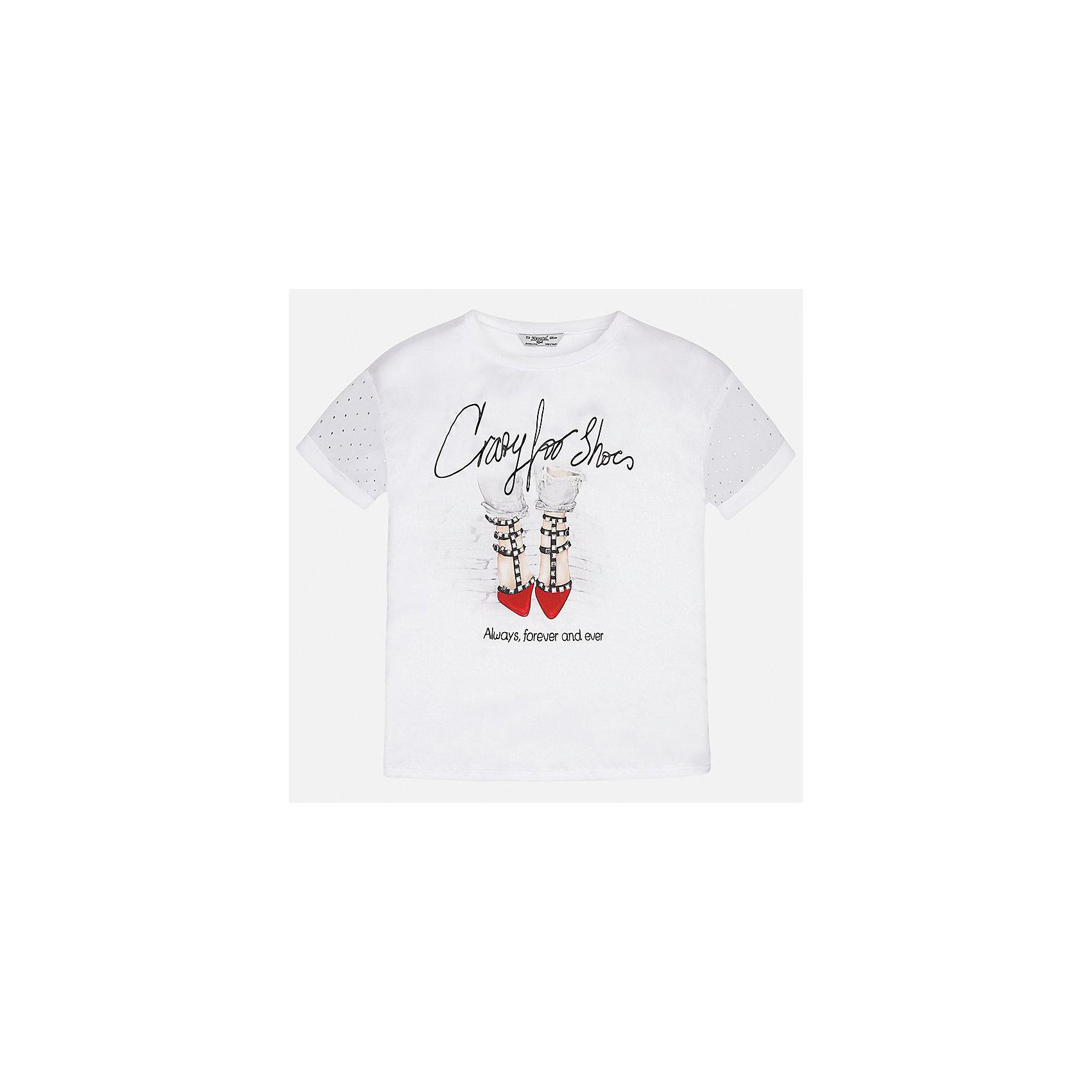 Футболка для девочки MayoralФутболки, поло и топы<br>Характеристики товара:<br><br>• цвет: белый<br>• состав: 60% полиэстер, 40% вискоза<br>• эластичный материал<br>• декорирована принтом<br>• короткие рукава<br>• округлый горловой вырез<br>• страна бренда: Испания<br><br>Модная качественная футболка для девочки поможет разнообразить гардероб ребенка и украсить наряд. Она отлично сочетается и с юбками, и с шортами, и с брюками. Универсальный цвет позволяет подобрать к вещи низ практически любой расцветки. Интересная отделка модели делает её нарядной и оригинальной.<br><br>Одежда, обувь и аксессуары от испанского бренда Mayoral полюбились детям и взрослым по всему миру. Модели этой марки - стильные и удобные. Для их производства используются только безопасные, качественные материалы и фурнитура. Порадуйте ребенка модными и красивыми вещами от Mayoral! <br><br>Футболку для девочки от испанского бренда Mayoral (Майорал) можно купить в нашем интернет-магазине.<br><br>Ширина мм: 199<br>Глубина мм: 10<br>Высота мм: 161<br>Вес г: 151<br>Цвет: красный<br>Возраст от месяцев: 132<br>Возраст до месяцев: 144<br>Пол: Женский<br>Возраст: Детский<br>Размер: 152,158,164,170,128/134,140<br>SKU: 5300695