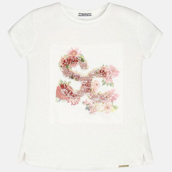 Футболка для девочки MayoralФутболки, поло и топы<br>Характеристики товара:<br><br>• цвет: молочный<br>• состав: 95% вискоза, 5% эластан<br>• пайетки<br>• декорирована принтом<br>• короткие рукава<br>• округлый горловой вырез<br>• страна бренда: Испания<br><br>Модная качественная футболка для девочки поможет разнообразить гардероб ребенка и украсить наряд. Она отлично сочетается и с юбками, и с шортами, и с брюками. Универсальный цвет позволяет подобрать к вещи низ практически любой расцветки. Интересная отделка модели делает её нарядной и оригинальной.<br><br>Одежда, обувь и аксессуары от испанского бренда Mayoral полюбились детям и взрослым по всему миру. Модели этой марки - стильные и удобные. Для их производства используются только безопасные, качественные материалы и фурнитура. Порадуйте ребенка модными и красивыми вещами от Mayoral! <br><br>Футболку для девочки от испанского бренда Mayoral (Майорал) можно купить в нашем интернет-магазине.<br>Ширина мм: 199; Глубина мм: 10; Высота мм: 161; Вес г: 151; Цвет: бежевый; Возраст от месяцев: 84; Возраст до месяцев: 96; Пол: Женский; Возраст: Детский; Размер: 128/134,170,140,152,158,164; SKU: 5300702;