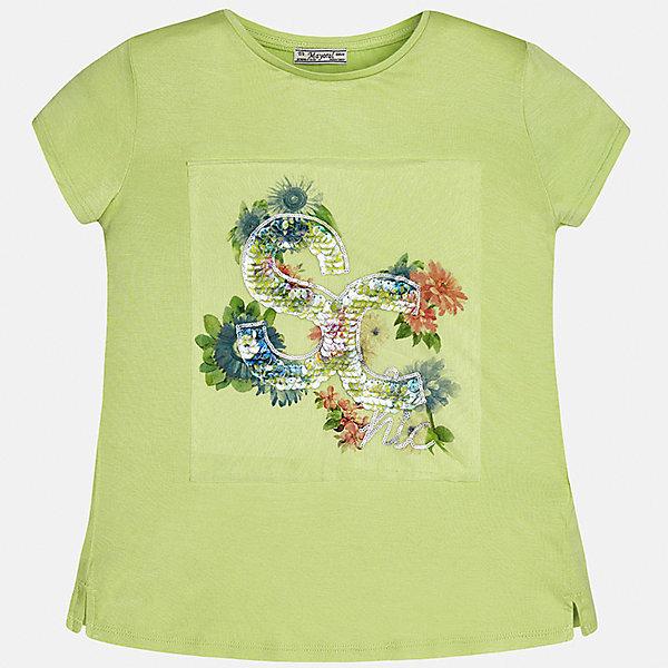 Футболка для девочки MayoralФутболки, поло и топы<br>Характеристики товара:<br><br>• цвет: зеленый<br>• состав: 95% вискоза, 5% эластан<br>• пайетки<br>• декорирована принтом<br>• короткие рукава<br>• округлый горловой вырез<br>• страна бренда: Испания<br><br>Модная качественная футболка для девочки поможет разнообразить гардероб ребенка и украсить наряд. Она отлично сочетается и с юбками, и с шортами, и с брюками. Универсальный цвет позволяет подобрать к вещи низ практически любой расцветки. Интересная отделка модели делает её нарядной и оригинальной.<br><br>Одежда, обувь и аксессуары от испанского бренда Mayoral полюбились детям и взрослым по всему миру. Модели этой марки - стильные и удобные. Для их производства используются только безопасные, качественные материалы и фурнитура. Порадуйте ребенка модными и красивыми вещами от Mayoral! <br><br>Футболку для девочки от испанского бренда Mayoral (Майорал) можно купить в нашем интернет-магазине.<br>Ширина мм: 199; Глубина мм: 10; Высота мм: 161; Вес г: 151; Цвет: зеленый; Возраст от месяцев: 84; Возраст до месяцев: 96; Пол: Женский; Возраст: Детский; Размер: 128/134,170,164,158,152,140; SKU: 5300709;