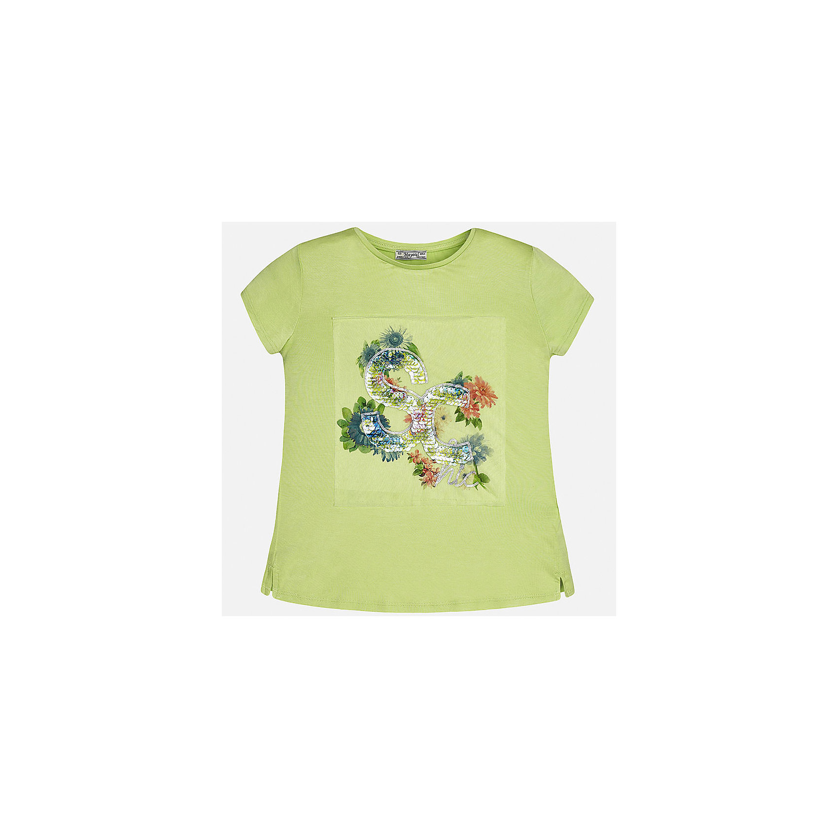 Футболка для девочки MayoralФутболки, поло и топы<br>Характеристики товара:<br><br>• цвет: зеленый<br>• состав: 95% вискоза, 5% эластан<br>• пайетки<br>• декорирована принтом<br>• короткие рукава<br>• округлый горловой вырез<br>• страна бренда: Испания<br><br>Модная качественная футболка для девочки поможет разнообразить гардероб ребенка и украсить наряд. Она отлично сочетается и с юбками, и с шортами, и с брюками. Универсальный цвет позволяет подобрать к вещи низ практически любой расцветки. Интересная отделка модели делает её нарядной и оригинальной.<br><br>Одежда, обувь и аксессуары от испанского бренда Mayoral полюбились детям и взрослым по всему миру. Модели этой марки - стильные и удобные. Для их производства используются только безопасные, качественные материалы и фурнитура. Порадуйте ребенка модными и красивыми вещами от Mayoral! <br><br>Футболку для девочки от испанского бренда Mayoral (Майорал) можно купить в нашем интернет-магазине.<br><br>Ширина мм: 199<br>Глубина мм: 10<br>Высота мм: 161<br>Вес г: 151<br>Цвет: зеленый<br>Возраст от месяцев: 168<br>Возраст до месяцев: 180<br>Пол: Женский<br>Возраст: Детский<br>Размер: 170,128/134,140,152,158,164<br>SKU: 5300709