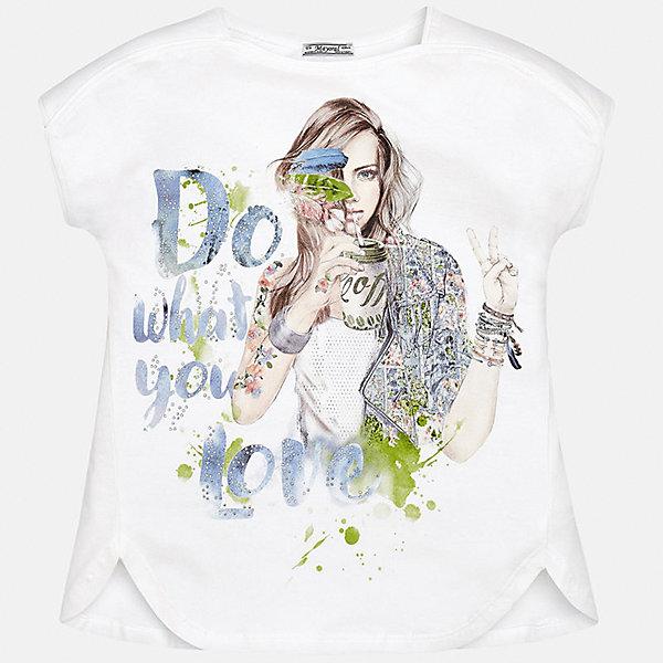 Футболка для девочки MayoralФутболки, поло и топы<br>Характеристики товара:<br><br>• цвет: белый<br>• состав: 48% хлопок, 48% полиэстер, 4% эластан<br>• стразы<br>• декорирована принтом<br>• короткие рукава<br>• сложный крой<br>• страна бренда: Испания<br><br>Стильная оригинальная футболка для девочки поможет разнообразить гардероб ребенка и украсить наряд. Она отлично сочетается и с юбками, и с шортами, и с брюками. Универсальный цвет позволяет подобрать к вещи низ практически любой расцветки. Интересная отделка модели делает её нарядной и оригинальной. В составе материала - натуральный хлопок, гипоаллергенный, приятный на ощупь, дышащий.<br><br>Одежда, обувь и аксессуары от испанского бренда Mayoral полюбились детям и взрослым по всему миру. Модели этой марки - стильные и удобные. Для их производства используются только безопасные, качественные материалы и фурнитура. Порадуйте ребенка модными и красивыми вещами от Mayoral! <br><br>Футболку для девочки от испанского бренда Mayoral (Майорал) можно купить в нашем интернет-магазине.<br><br>Ширина мм: 199<br>Глубина мм: 10<br>Высота мм: 161<br>Вес г: 151<br>Цвет: белый<br>Возраст от месяцев: 84<br>Возраст до месяцев: 96<br>Пол: Женский<br>Возраст: Детский<br>Размер: 128/134,170,164,158,152,140<br>SKU: 5300730