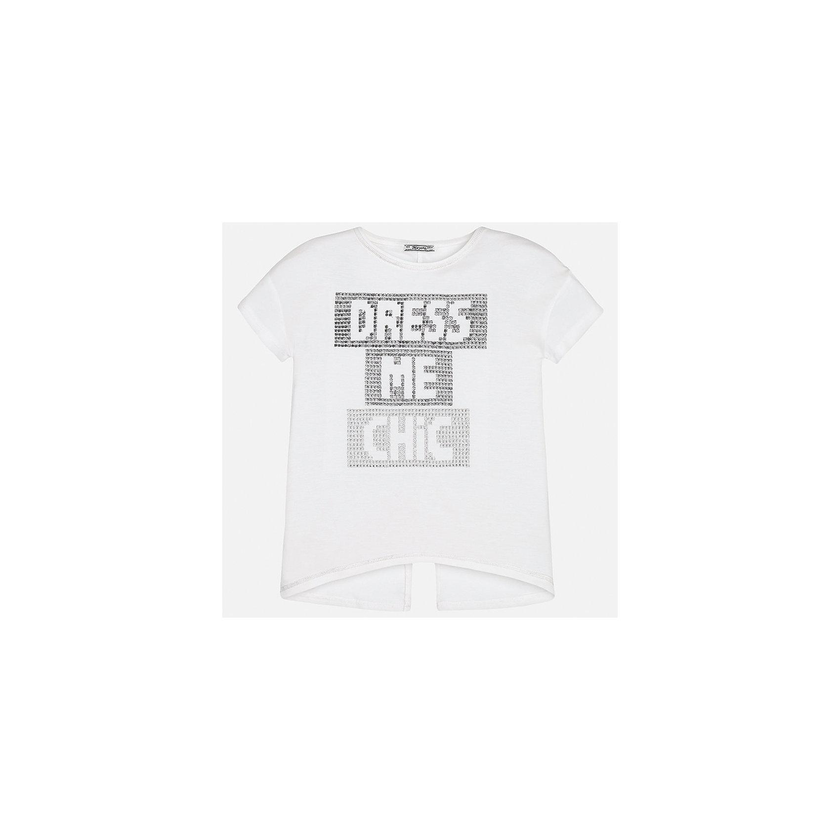 Футболка для девочки MayoralХарактеристики товара:<br><br>• цвет: белый<br>• состав: 95% вискоза, 5% эластан<br>• контрастная прострочка<br>• декорирована стразами<br>• короткие рукава<br>• разрез на спине<br>• страна бренда: Испания<br><br>Стильная оригинальная футболка для девочки поможет разнообразить гардероб ребенка и украсить наряд. Она отлично сочетается и с юбками, и с шортами, и с брюками. Универсальный цвет позволяет подобрать к вещи низ практически любой расцветки. Интересная отделка модели делает её нарядной и оригинальной. <br><br>Одежда, обувь и аксессуары от испанского бренда Mayoral полюбились детям и взрослым по всему миру. Модели этой марки - стильные и удобные. Для их производства используются только безопасные, качественные материалы и фурнитура. Порадуйте ребенка модными и красивыми вещами от Mayoral! <br><br>Футболку для девочки от испанского бренда Mayoral (Майорал) можно купить в нашем интернет-магазине.<br><br>Ширина мм: 199<br>Глубина мм: 10<br>Высота мм: 161<br>Вес г: 151<br>Цвет: белый<br>Возраст от месяцев: 168<br>Возраст до месяцев: 180<br>Пол: Женский<br>Возраст: Детский<br>Размер: 128/134,140,152,158,164,170<br>SKU: 5300765