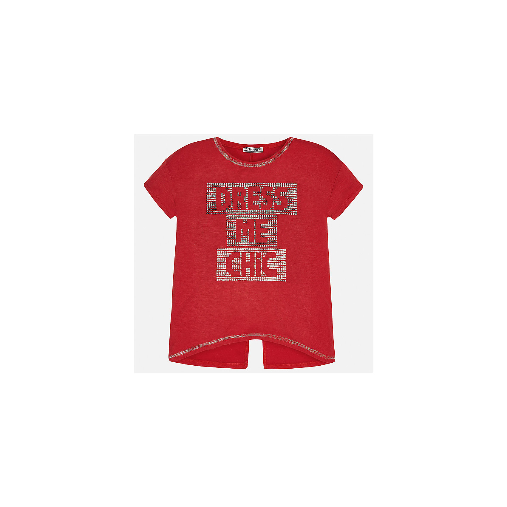 Футболка для девочки MayoralФутболки, поло и топы<br>Характеристики товара:<br><br>• цвет: красный<br>• состав: 95% вискоза, 5% эластан<br>• контрастная прострочка<br>• декорирована стразами<br>• короткие рукава<br>• разрез на спине<br>• страна бренда: Испания<br><br>Стильная оригинальная футболка для девочки поможет разнообразить гардероб ребенка и украсить наряд. Она отлично сочетается и с юбками, и с шортами, и с брюками. Универсальный цвет позволяет подобрать к вещи низ практически любой расцветки. Интересная отделка модели делает её нарядной и оригинальной. <br><br>Одежда, обувь и аксессуары от испанского бренда Mayoral полюбились детям и взрослым по всему миру. Модели этой марки - стильные и удобные. Для их производства используются только безопасные, качественные материалы и фурнитура. Порадуйте ребенка модными и красивыми вещами от Mayoral! <br><br>Футболку для девочки от испанского бренда Mayoral (Майорал) можно купить в нашем интернет-магазине.<br><br>Ширина мм: 199<br>Глубина мм: 10<br>Высота мм: 161<br>Вес г: 151<br>Цвет: красный<br>Возраст от месяцев: 84<br>Возраст до месяцев: 96<br>Пол: Женский<br>Возраст: Детский<br>Размер: 164,158,152,140,128/134,170<br>SKU: 5300772