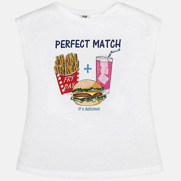 Футболка для девочки MayoralФутболки, поло и топы<br>Характеристики товара:<br><br>• цвет: белый<br>• состав: 50% хлопок, 50% модал<br>• спинка присборена<br>• декорирована принтом<br>• без рукавов<br>• страна бренда: Испания<br><br>Стильная оригинальная футболка для девочки поможет разнообразить гардероб ребенка и украсить наряд. Она отлично сочетается и с юбками, и с шортами, и с брюками. Универсальный цвет позволяет подобрать к вещи низ практически любой расцветки. Интересная отделка модели делает её нарядной и оригинальной. В составе материала - натуральный хлопок, гипоаллергенный, приятный на ощупь, дышащий.<br><br>Одежда, обувь и аксессуары от испанского бренда Mayoral полюбились детям и взрослым по всему миру. Модели этой марки - стильные и удобные. Для их производства используются только безопасные, качественные материалы и фурнитура. Порадуйте ребенка модными и красивыми вещами от Mayoral! <br><br>Футболку для девочки от испанского бренда Mayoral (Майорал) можно купить в нашем интернет-магазине.<br>Ширина мм: 199; Глубина мм: 10; Высота мм: 161; Вес г: 151; Цвет: белый; Возраст от месяцев: 84; Возраст до месяцев: 96; Пол: Женский; Возраст: Детский; Размер: 170,164,158,152,140,128/134; SKU: 5300779;