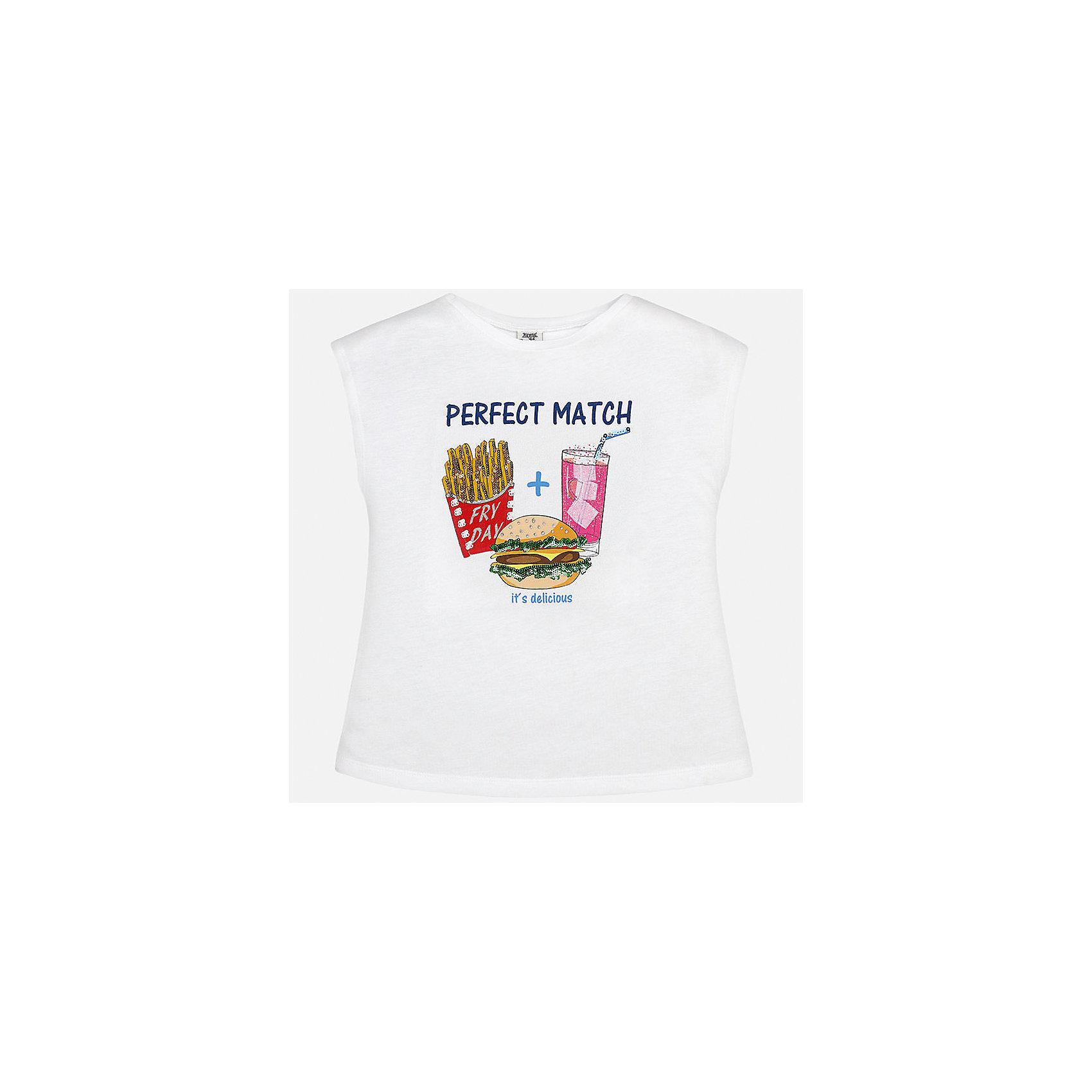 Футболка для девочки MayoralФутболки, поло и топы<br>Характеристики товара:<br><br>• цвет: белый<br>• состав: 50% хлопок, 50% модал<br>• спинка присборена<br>• декорирована принтом<br>• без рукавов<br>• страна бренда: Испания<br><br>Стильная оригинальная футболка для девочки поможет разнообразить гардероб ребенка и украсить наряд. Она отлично сочетается и с юбками, и с шортами, и с брюками. Универсальный цвет позволяет подобрать к вещи низ практически любой расцветки. Интересная отделка модели делает её нарядной и оригинальной. В составе материала - натуральный хлопок, гипоаллергенный, приятный на ощупь, дышащий.<br><br>Одежда, обувь и аксессуары от испанского бренда Mayoral полюбились детям и взрослым по всему миру. Модели этой марки - стильные и удобные. Для их производства используются только безопасные, качественные материалы и фурнитура. Порадуйте ребенка модными и красивыми вещами от Mayoral! <br><br>Футболку для девочки от испанского бренда Mayoral (Майорал) можно купить в нашем интернет-магазине.<br><br>Ширина мм: 199<br>Глубина мм: 10<br>Высота мм: 161<br>Вес г: 151<br>Цвет: белый<br>Возраст от месяцев: 84<br>Возраст до месяцев: 96<br>Пол: Женский<br>Возраст: Детский<br>Размер: 128/134,170,164,158,152,140<br>SKU: 5300779
