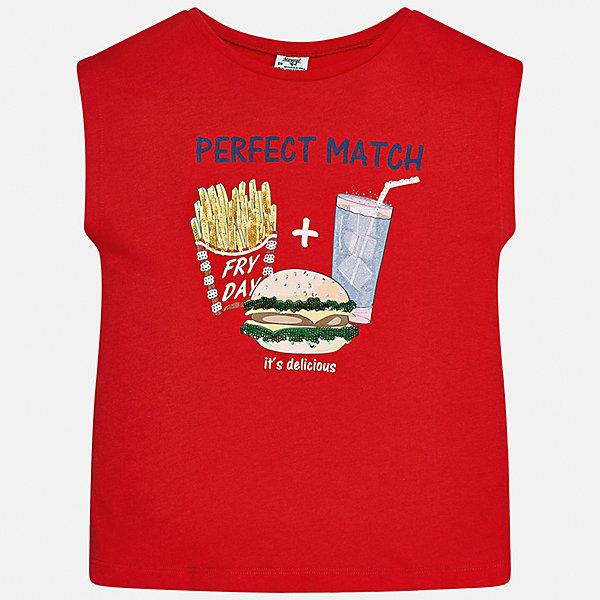 Футболка для девочки MayoralФутболки, поло и топы<br>Характеристики товара:<br><br>• цвет: красный<br>• состав: 50% хлопок, 50% модал<br>• спинка присборена<br>• декорирована принтом<br>• без рукавов<br>• страна бренда: Испания<br><br>Стильная оригинальная футболка для девочки поможет разнообразить гардероб ребенка и украсить наряд. Она отлично сочетается и с юбками, и с шортами, и с брюками. Универсальный цвет позволяет подобрать к вещи низ практически любой расцветки. Интересная отделка модели делает её нарядной и оригинальной. В составе материала - натуральный хлопок, гипоаллергенный, приятный на ощупь, дышащий.<br><br>Одежда, обувь и аксессуары от испанского бренда Mayoral полюбились детям и взрослым по всему миру. Модели этой марки - стильные и удобные. Для их производства используются только безопасные, качественные материалы и фурнитура. Порадуйте ребенка модными и красивыми вещами от Mayoral! <br><br>Футболку для девочки от испанского бренда Mayoral (Майорал) можно купить в нашем интернет-магазине.<br>Ширина мм: 199; Глубина мм: 10; Высота мм: 161; Вес г: 151; Цвет: красный; Возраст от месяцев: 168; Возраст до месяцев: 180; Пол: Женский; Возраст: Детский; Размер: 170,128/134,140,158,164,152; SKU: 5300786;