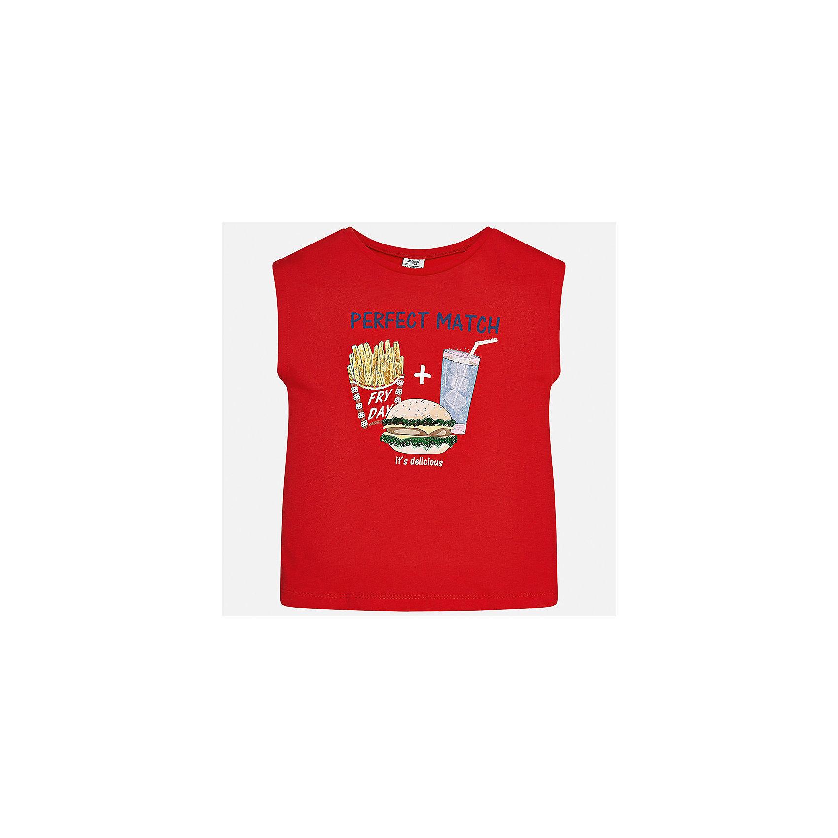 Футболка для девочки MayoralФутболки, поло и топы<br>Характеристики товара:<br><br>• цвет: красный<br>• состав: 50% хлопок, 50% модал<br>• спинка присборена<br>• декорирована принтом<br>• без рукавов<br>• страна бренда: Испания<br><br>Стильная оригинальная футболка для девочки поможет разнообразить гардероб ребенка и украсить наряд. Она отлично сочетается и с юбками, и с шортами, и с брюками. Универсальный цвет позволяет подобрать к вещи низ практически любой расцветки. Интересная отделка модели делает её нарядной и оригинальной. В составе материала - натуральный хлопок, гипоаллергенный, приятный на ощупь, дышащий.<br><br>Одежда, обувь и аксессуары от испанского бренда Mayoral полюбились детям и взрослым по всему миру. Модели этой марки - стильные и удобные. Для их производства используются только безопасные, качественные материалы и фурнитура. Порадуйте ребенка модными и красивыми вещами от Mayoral! <br><br>Футболку для девочки от испанского бренда Mayoral (Майорал) можно купить в нашем интернет-магазине.<br><br>Ширина мм: 199<br>Глубина мм: 10<br>Высота мм: 161<br>Вес г: 151<br>Цвет: красный<br>Возраст от месяцев: 144<br>Возраст до месяцев: 156<br>Пол: Женский<br>Возраст: Детский<br>Размер: 158,152,140,128/134,170,164<br>SKU: 5300786