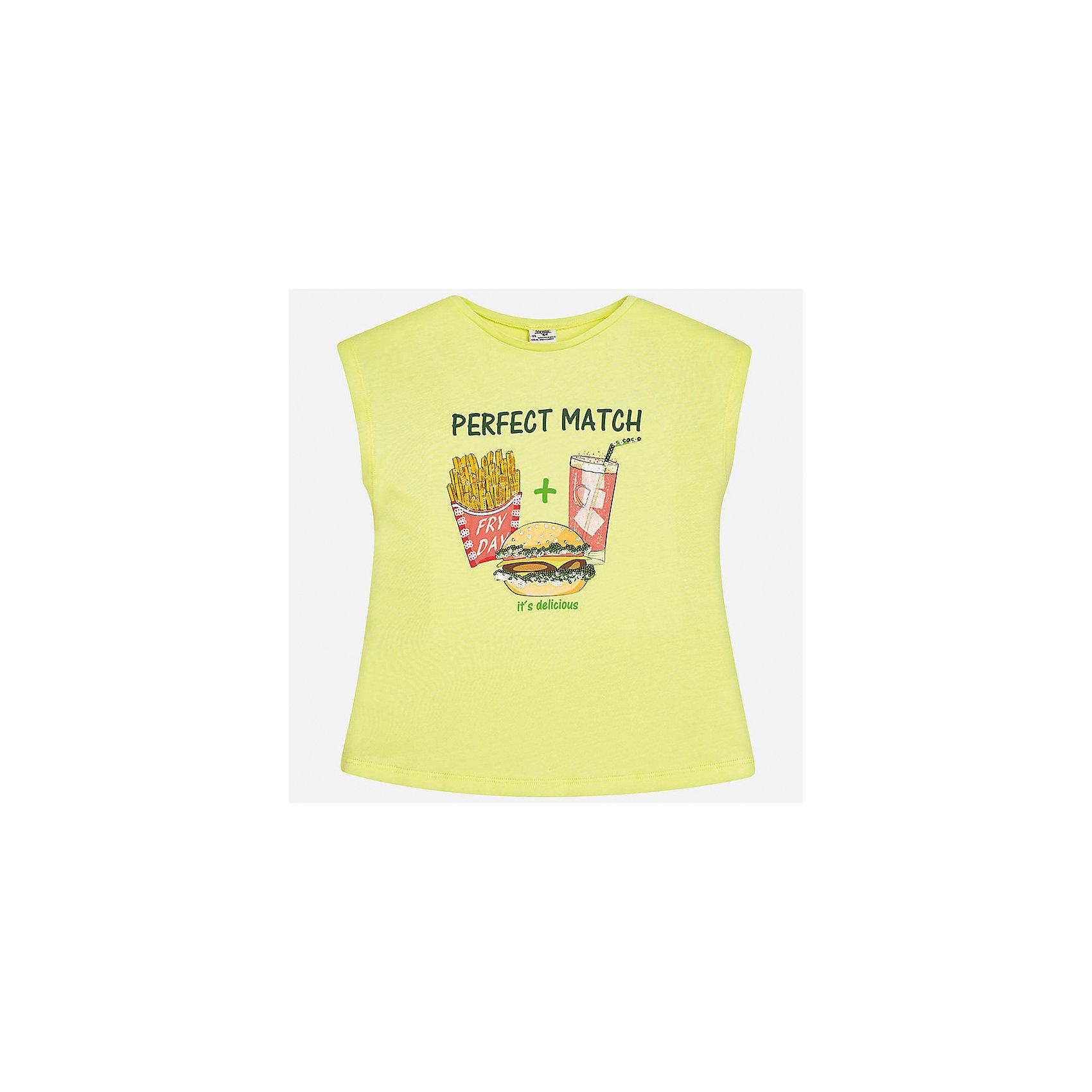 Футболка для девочки MayoralФутболки, поло и топы<br>Характеристики товара:<br><br>• цвет: салатовый<br>• состав: 50% хлопок, 50% модал<br>• спинка присборена<br>• декорирована принтом<br>• без рукавов<br>• страна бренда: Испания<br><br>Стильная оригинальная футболка для девочки поможет разнообразить гардероб ребенка и украсить наряд. Она отлично сочетается и с юбками, и с шортами, и с брюками. Универсальный цвет позволяет подобрать к вещи низ практически любой расцветки. Интересная отделка модели делает её нарядной и оригинальной. В составе материала - натуральный хлопок, гипоаллергенный, приятный на ощупь, дышащий.<br><br>Одежда, обувь и аксессуары от испанского бренда Mayoral полюбились детям и взрослым по всему миру. Модели этой марки - стильные и удобные. Для их производства используются только безопасные, качественные материалы и фурнитура. Порадуйте ребенка модными и красивыми вещами от Mayoral! <br><br>Футболку для девочки от испанского бренда Mayoral (Майорал) можно купить в нашем интернет-магазине.<br><br>Ширина мм: 199<br>Глубина мм: 10<br>Высота мм: 161<br>Вес г: 151<br>Цвет: желтый<br>Возраст от месяцев: 168<br>Возраст до месяцев: 180<br>Пол: Женский<br>Возраст: Детский<br>Размер: 170,128/134,140,152,158,164<br>SKU: 5300793