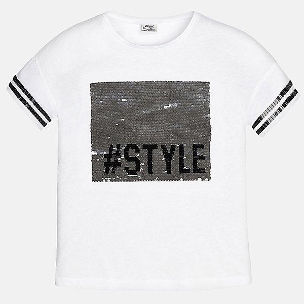 Футболка для девочки MayoralФутболки, поло и топы<br>Характеристики товара:<br><br>• цвет: белый<br>• состав: 50% хлопок, 50% модал<br>• отделка рукавов<br>• декорирована принтом<br>• короткие рукава<br>• страна бренда: Испания<br><br>Модная оригинальная футболка для девочки поможет разнообразить гардероб ребенка и украсить наряд. Она отлично сочетается и с юбками, и с шортами, и с брюками. Универсальный цвет позволяет подобрать к вещи низ практически любой расцветки. Интересная отделка модели делает её нарядной и оригинальной. В составе материала - натуральный хлопок, гипоаллергенный, приятный на ощупь, дышащий.<br><br>Одежда, обувь и аксессуары от испанского бренда Mayoral полюбились детям и взрослым по всему миру. Модели этой марки - стильные и удобные. Для их производства используются только безопасные, качественные материалы и фурнитура. Порадуйте ребенка модными и красивыми вещами от Mayoral! <br><br>Футболку для девочки от испанского бренда Mayoral (Майорал) можно купить в нашем интернет-магазине.<br>Ширина мм: 199; Глубина мм: 10; Высота мм: 161; Вес г: 151; Цвет: белый; Возраст от месяцев: 84; Возраст до месяцев: 96; Пол: Женский; Возраст: Детский; Размер: 128/134,170,164,158,152,140; SKU: 5300800;