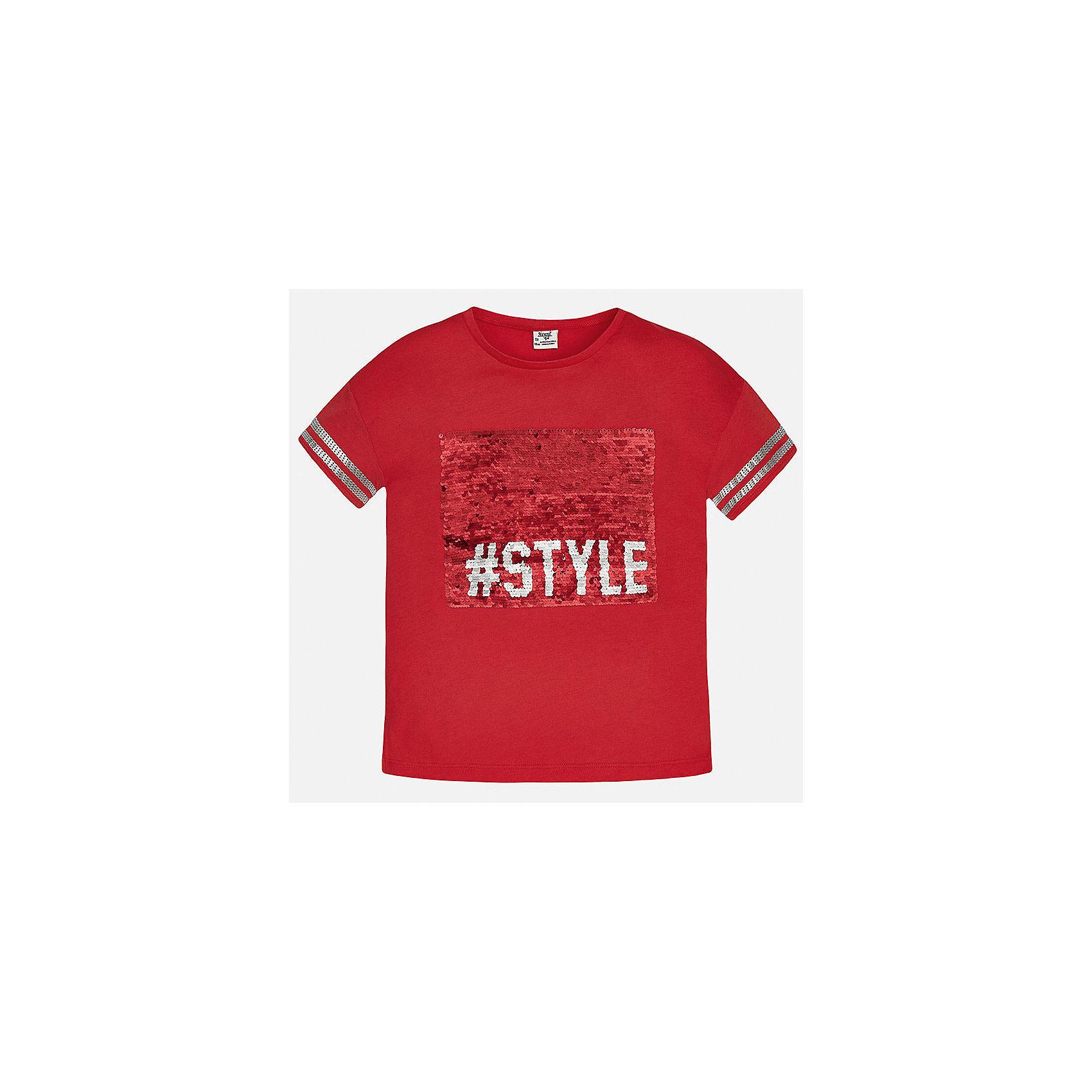 Футболка для девочки MayoralФутболки, поло и топы<br>Характеристики товара:<br><br>• цвет: красный<br>• состав: 50% хлопок, 50% модал<br>• отделка рукавов<br>• декорирована принтом<br>• короткие рукава<br>• страна бренда: Испания<br><br>Модная оригинальная футболка для девочки поможет разнообразить гардероб ребенка и украсить наряд. Она отлично сочетается и с юбками, и с шортами, и с брюками. Универсальный цвет позволяет подобрать к вещи низ практически любой расцветки. Интересная отделка модели делает её нарядной и оригинальной. В составе материала - натуральный хлопок, гипоаллергенный, приятный на ощупь, дышащий.<br><br>Одежда, обувь и аксессуары от испанского бренда Mayoral полюбились детям и взрослым по всему миру. Модели этой марки - стильные и удобные. Для их производства используются только безопасные, качественные материалы и фурнитура. Порадуйте ребенка модными и красивыми вещами от Mayoral! <br><br>Футболку для девочки от испанского бренда Mayoral (Майорал) можно купить в нашем интернет-магазине.<br><br>Ширина мм: 199<br>Глубина мм: 10<br>Высота мм: 161<br>Вес г: 151<br>Цвет: красный<br>Возраст от месяцев: 168<br>Возраст до месяцев: 180<br>Пол: Женский<br>Возраст: Детский<br>Размер: 170,128/134,140,152,158,164<br>SKU: 5300807
