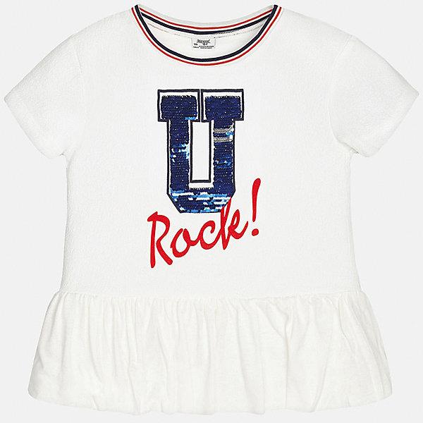 Футболка для девочки MayoralФутболки, поло и топы<br>Характеристики товара:<br><br>• цвет: белый<br>• состав: 97% полиэстер, 3% эластан<br>• контрастная отделка ворота<br>• декорирована пайетками<br>• короткие рукава<br>• принт<br>• страна бренда: Испания<br><br>Стильная оригинальная футболка для девочки поможет разнообразить гардероб ребенка и украсить наряд. Она отлично сочетается и с юбками, и с шортами, и с брюками. Универсальный цвет позволяет подобрать к вещи низ практически любой расцветки. Интересная отделка модели делает её нарядной и оригинальной. <br><br>Одежда, обувь и аксессуары от испанского бренда Mayoral полюбились детям и взрослым по всему миру. Модели этой марки - стильные и удобные. Для их производства используются только безопасные, качественные материалы и фурнитура. Порадуйте ребенка модными и красивыми вещами от Mayoral! <br><br>Футболку для девочки от испанского бренда Mayoral (Майорал) можно купить в нашем интернет-магазине.<br>Ширина мм: 199; Глубина мм: 10; Высота мм: 161; Вес г: 151; Цвет: белый; Возраст от месяцев: 108; Возраст до месяцев: 120; Пол: Женский; Возраст: Детский; Размер: 140,128/134,152,158,164,170; SKU: 5300814;