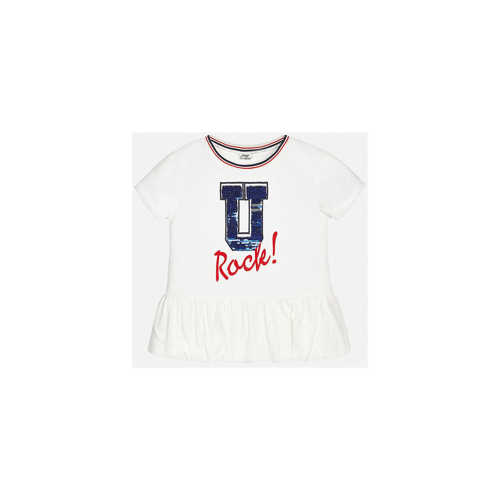 Футболка для девочки MayoralФутболки, поло и топы<br>Характеристики товара:<br><br>• цвет: белый<br>• состав: 97% полиэстер, 3% эластан<br>• контрастная отделка ворота<br>• декорирована пайетками<br>• короткие рукава<br>• принт<br>• страна бренда: Испания<br><br>Стильная оригинальная футболка для девочки поможет разнообразить гардероб ребенка и украсить наряд. Она отлично сочетается и с юбками, и с шортами, и с брюками. Универсальный цвет позволяет подобрать к вещи низ практически любой расцветки. Интересная отделка модели делает её нарядной и оригинальной. <br><br>Одежда, обувь и аксессуары от испанского бренда Mayoral полюбились детям и взрослым по всему миру. Модели этой марки - стильные и удобные. Для их производства используются только безопасные, качественные материалы и фурнитура. Порадуйте ребенка модными и красивыми вещами от Mayoral! <br><br>Футболку для девочки от испанского бренда Mayoral (Майорал) можно купить в нашем интернет-магазине.<br><br>Ширина мм: 199<br>Глубина мм: 10<br>Высота мм: 161<br>Вес г: 151<br>Цвет: белый<br>Возраст от месяцев: 156<br>Возраст до месяцев: 168<br>Пол: Женский<br>Возраст: Детский<br>Размер: 164,170,128/134,140,152,158<br>SKU: 5300814