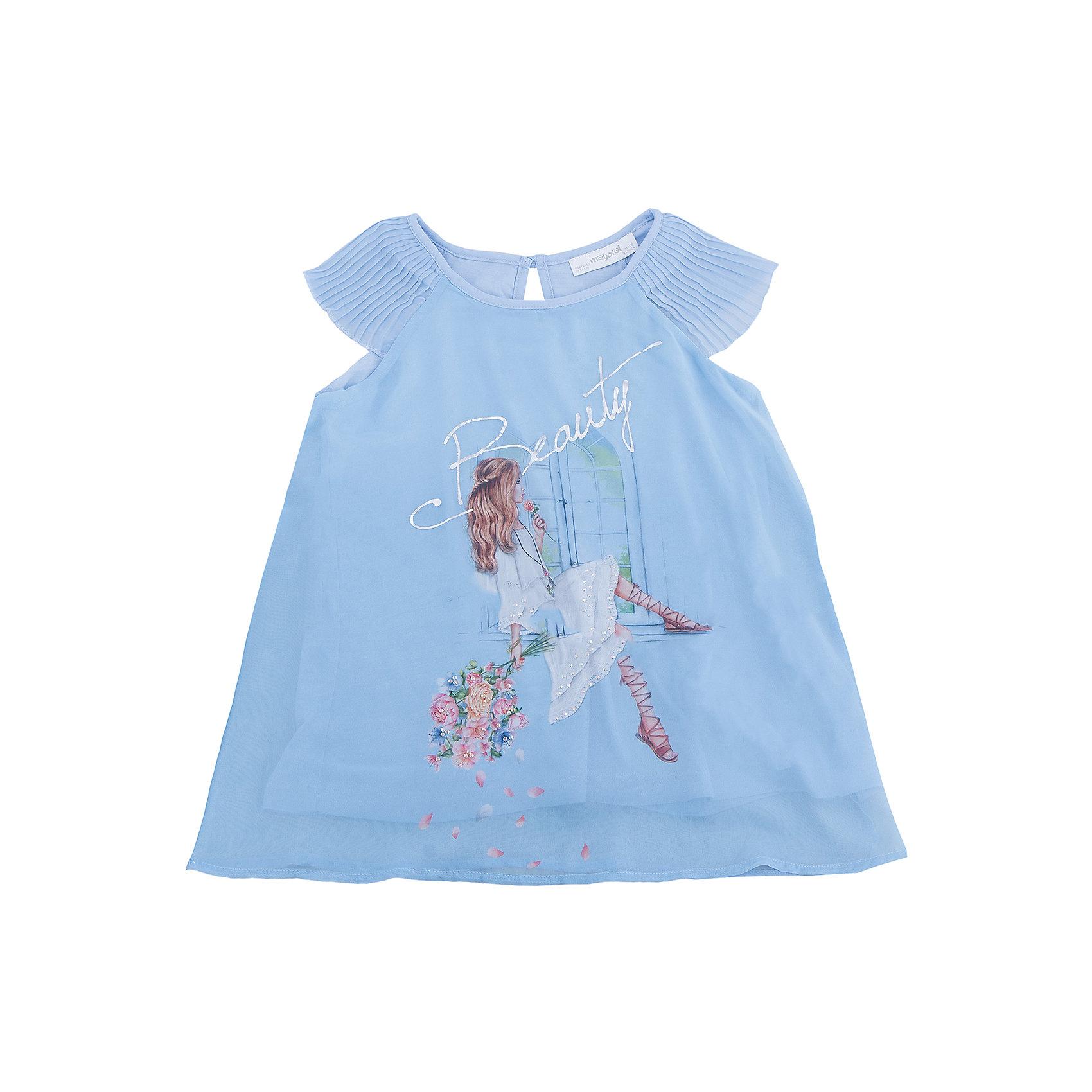 Блузка для девочки MayoralБлузки и рубашки<br>Характеристики товара:<br><br>• цвет: голубой<br>• состав: 100% полиэстер<br>• подкладка: 100% вискоза<br>• плечи открыты<br>• пуговица сзади<br>• страна бренда: Испания<br><br>Симпатичная качественная блузка для девочки поможет разнообразить гардероб ребенка и украсить наряд. Интересная отделка модели делает её нарядной и оригинальной. <br><br>Блузку для девочки от испанского бренда Mayoral (Майорал) можно купить в нашем интернет-магазине.<br><br>Ширина мм: 186<br>Глубина мм: 87<br>Высота мм: 198<br>Вес г: 197<br>Цвет: голубой<br>Возраст от месяцев: 108<br>Возраст до месяцев: 120<br>Пол: Женский<br>Возраст: Детский<br>Размер: 140,164,128/134,152,158<br>SKU: 5300862