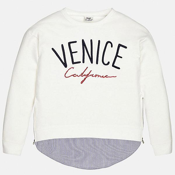 Свитер для девочки MayoralТолстовки<br>Характеристики товара:<br><br>• цвет: белый<br>• состав: 95% хлопок, 5% эластан<br>• рукава длинные <br>• вышивка<br>• имитация многослойности<br>• молнии по бокам<br>• страна бренда: Испания<br><br>Удобный и красивый свитер для девочки поможет разнообразить гардероб ребенка и украсить наряд. Он отлично сочетается и с юбками, и с брюками. Универсальный цвет позволяет подобрать к вещи низ различных расцветок. Интересная отделка модели делает её нарядной и оригинальной. В составе материала - натуральный хлопок, гипоаллергенный, приятный на ощупь, дышащий.<br><br>Одежда, обувь и аксессуары от испанского бренда Mayoral полюбились детям и взрослым по всему миру. Модели этой марки - стильные и удобные. Для их производства используются только безопасные, качественные материалы и фурнитура. Порадуйте ребенка модными и красивыми вещами от Mayoral! <br><br>Свитер для девочки от испанского бренда Mayoral (Майорал) можно купить в нашем интернет-магазине.<br>Ширина мм: 190; Глубина мм: 74; Высота мм: 229; Вес г: 236; Цвет: белый; Возраст от месяцев: 84; Возраст до месяцев: 96; Пол: Женский; Возраст: Детский; Размер: 128/134,170,164,158,152,140; SKU: 5300882;