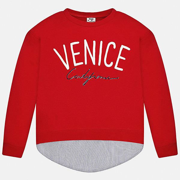 Толстовка для девочки MayoralТолстовки<br>Характеристики товара:<br><br>• цвет: красный<br>• состав: 95% хлопок, 5% эластан<br>• рукава длинные <br>• вышивка<br>• имитация многослойности<br>• молнии по бокам<br>• страна бренда: Испания<br><br>Удобный и красивый свитер для девочки поможет разнообразить гардероб ребенка и украсить наряд. Он отлично сочетается и с юбками, и с брюками. Универсальный цвет позволяет подобрать к вещи низ различных расцветок. Интересная отделка модели делает её нарядной и оригинальной. В составе материала - натуральный хлопок, гипоаллергенный, приятный на ощупь, дышащий.<br><br>Одежда, обувь и аксессуары от испанского бренда Mayoral полюбились детям и взрослым по всему миру. Модели этой марки - стильные и удобные. Для их производства используются только безопасные, качественные материалы и фурнитура. Порадуйте ребенка модными и красивыми вещами от Mayoral! <br><br>Свитер для девочки от испанского бренда Mayoral (Майорал) можно купить в нашем интернет-магазине.<br>Ширина мм: 190; Глубина мм: 74; Высота мм: 229; Вес г: 236; Цвет: красный; Возраст от месяцев: 84; Возраст до месяцев: 96; Пол: Женский; Возраст: Детский; Размер: 128/134,170,164,158,152,140; SKU: 5300889;