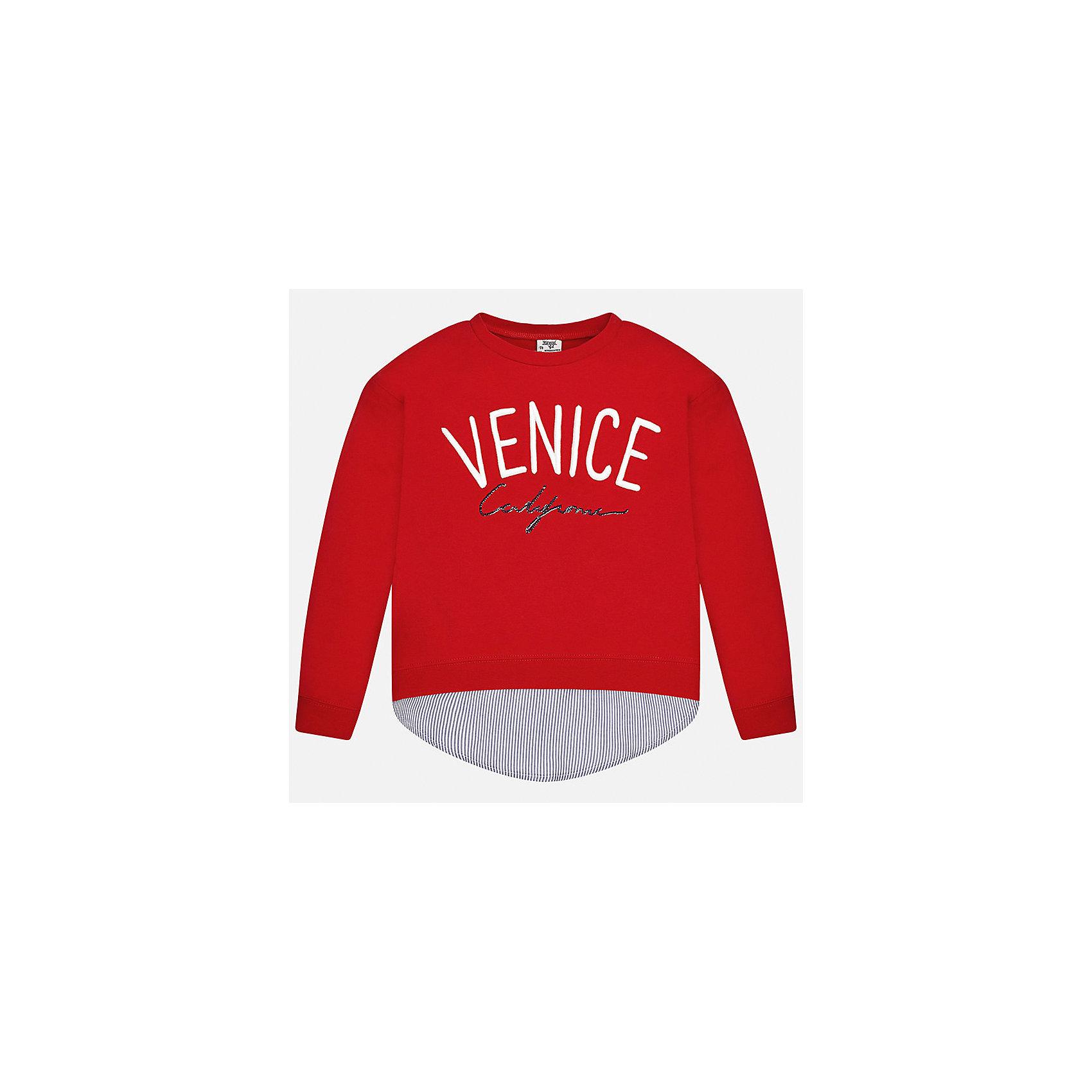 Толстовка для девочки MayoralТолстовки<br>Характеристики товара:<br><br>• цвет: красный<br>• состав: 95% хлопок, 5% эластан<br>• рукава длинные <br>• вышивка<br>• имитация многослойности<br>• молнии по бокам<br>• страна бренда: Испания<br><br>Удобный и красивый свитер для девочки поможет разнообразить гардероб ребенка и украсить наряд. Он отлично сочетается и с юбками, и с брюками. Универсальный цвет позволяет подобрать к вещи низ различных расцветок. Интересная отделка модели делает её нарядной и оригинальной. В составе материала - натуральный хлопок, гипоаллергенный, приятный на ощупь, дышащий.<br><br>Одежда, обувь и аксессуары от испанского бренда Mayoral полюбились детям и взрослым по всему миру. Модели этой марки - стильные и удобные. Для их производства используются только безопасные, качественные материалы и фурнитура. Порадуйте ребенка модными и красивыми вещами от Mayoral! <br><br>Свитер для девочки от испанского бренда Mayoral (Майорал) можно купить в нашем интернет-магазине.<br><br>Ширина мм: 190<br>Глубина мм: 74<br>Высота мм: 229<br>Вес г: 236<br>Цвет: красный<br>Возраст от месяцев: 168<br>Возраст до месяцев: 180<br>Пол: Женский<br>Возраст: Детский<br>Размер: 170,128/134,140,152,158,164<br>SKU: 5300889