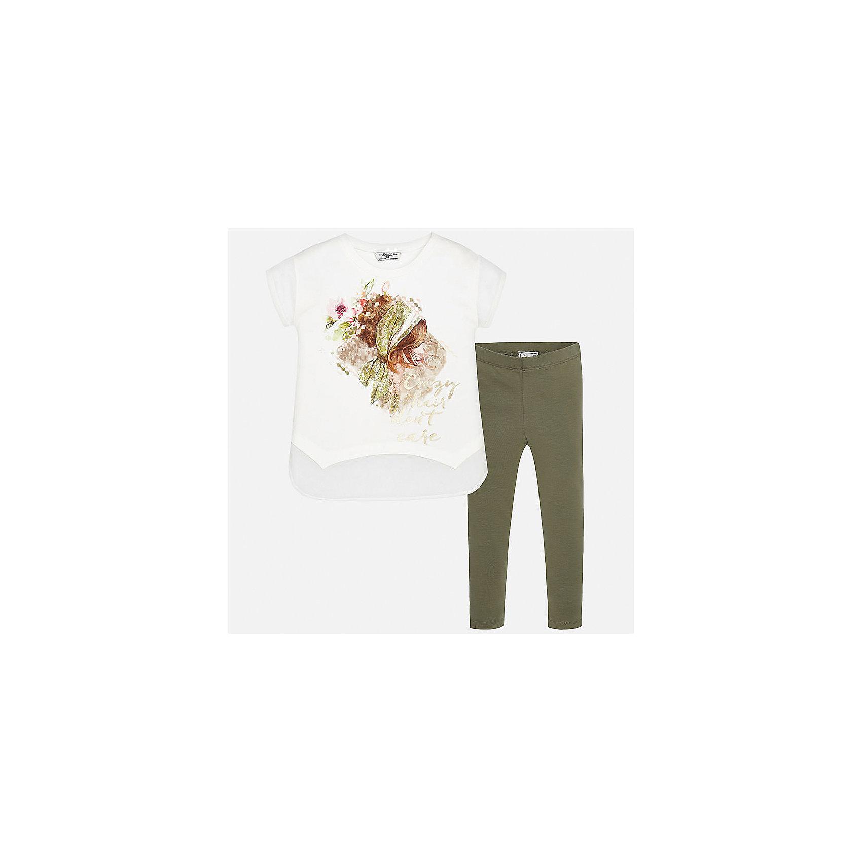 Комплект: футболка с длинным рукавом и леггинсы для девочки MayoralКомплекты<br>Характеристики товара:<br><br>• цвет: белый/зеленый<br>• состав: 95% хлопок, 5% эластан<br>• комплектация: футболка, леггинсы<br>• футболка декорирована принтом <br>• леггинсы однотонные<br>• пояс на резинке<br>• страна бренда: Испания<br><br>Красивый качественный комплект для девочки поможет разнообразить гардероб ребенка и удобно одеться в теплую погоду. Он отлично сочетается с другими предметами. Универсальный цвет позволяет подобрать к вещам верхнюю одежду практически любой расцветки. Интересная отделка модели делает её нарядной и оригинальной. В составе материала - натуральный хлопок, гипоаллергенный, приятный на ощупь, дышащий.<br><br>Одежда, обувь и аксессуары от испанского бренда Mayoral полюбились детям и взрослым по всему миру. Модели этой марки - стильные и удобные. Для их производства используются только безопасные, качественные материалы и фурнитура. Порадуйте ребенка модными и красивыми вещами от Mayoral! <br><br>Комплект для девочки от испанского бренда Mayoral (Майорал) можно купить в нашем интернет-магазине.<br><br>Ширина мм: 123<br>Глубина мм: 10<br>Высота мм: 149<br>Вес г: 209<br>Цвет: коричневый<br>Возраст от месяцев: 84<br>Возраст до месяцев: 96<br>Пол: Женский<br>Возраст: Детский<br>Размер: 128/134,164,140,152,158<br>SKU: 5300896