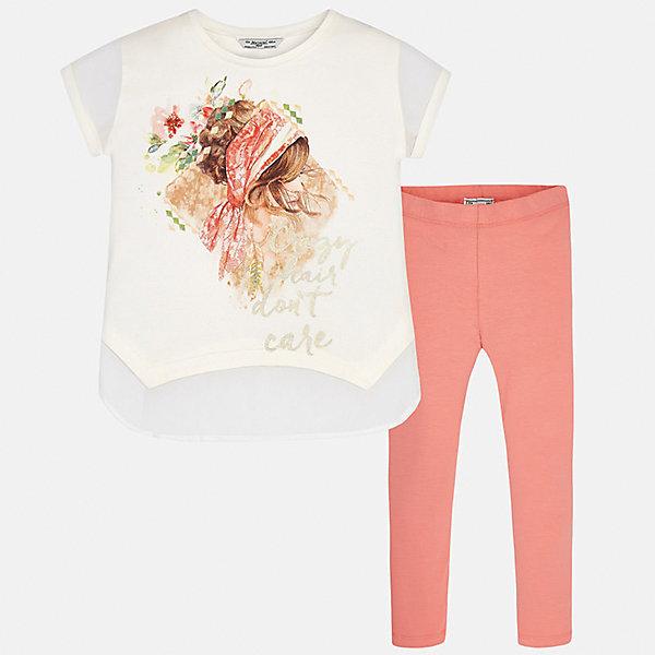 Комплект: футболка и леггинсы для девочки MayoralКомплекты<br>Характеристики товара:<br><br>• цвет: белый/персиковый<br>• состав: 95% хлопок, 5% эластан<br>• комплектация: футболка, леггинсы<br>• футболка декорирована принтом <br>• леггинсы однотонные<br>• пояс на резинке<br>• страна бренда: Испания<br><br>Красивый качественный комплект для девочки поможет разнообразить гардероб ребенка и удобно одеться в теплую погоду. Он отлично сочетается с другими предметами. Универсальный цвет позволяет подобрать к вещам верхнюю одежду практически любой расцветки. Интересная отделка модели делает её нарядной и оригинальной. В составе материала - натуральный хлопок, гипоаллергенный, приятный на ощупь, дышащий.<br><br>Одежда, обувь и аксессуары от испанского бренда Mayoral полюбились детям и взрослым по всему миру. Модели этой марки - стильные и удобные. Для их производства используются только безопасные, качественные материалы и фурнитура. Порадуйте ребенка модными и красивыми вещами от Mayoral! <br><br>Комплект для девочки от испанского бренда Mayoral (Майорал) можно купить в нашем интернет-магазине.<br>Ширина мм: 123; Глубина мм: 10; Высота мм: 149; Вес г: 209; Цвет: оранжевый; Возраст от месяцев: 84; Возраст до месяцев: 96; Пол: Женский; Возраст: Детский; Размер: 128/134,164,158,152,140; SKU: 5300902;