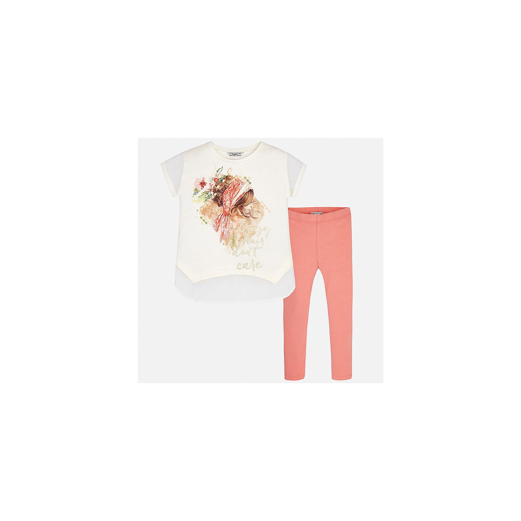Комплект: футболка и леггинсы для девочки MayoralКомплекты<br>Характеристики товара:<br><br>• цвет: белый/персиковый<br>• состав: 95% хлопок, 5% эластан<br>• комплектация: футболка, леггинсы<br>• футболка декорирована принтом <br>• леггинсы однотонные<br>• пояс на резинке<br>• страна бренда: Испания<br><br>Красивый качественный комплект для девочки поможет разнообразить гардероб ребенка и удобно одеться в теплую погоду. Он отлично сочетается с другими предметами. Универсальный цвет позволяет подобрать к вещам верхнюю одежду практически любой расцветки. Интересная отделка модели делает её нарядной и оригинальной. В составе материала - натуральный хлопок, гипоаллергенный, приятный на ощупь, дышащий.<br><br>Одежда, обувь и аксессуары от испанского бренда Mayoral полюбились детям и взрослым по всему миру. Модели этой марки - стильные и удобные. Для их производства используются только безопасные, качественные материалы и фурнитура. Порадуйте ребенка модными и красивыми вещами от Mayoral! <br><br>Комплект для девочки от испанского бренда Mayoral (Майорал) можно купить в нашем интернет-магазине.<br><br>Ширина мм: 123<br>Глубина мм: 10<br>Высота мм: 149<br>Вес г: 209<br>Цвет: оранжевый<br>Возраст от месяцев: 84<br>Возраст до месяцев: 96<br>Пол: Женский<br>Возраст: Детский<br>Размер: 128/134,164,140,152,158<br>SKU: 5300902