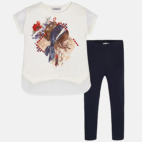 Комплект: футболка с длинным рукавом и леггинсы для девочки MayoralКомплекты<br>Характеристики товара:<br><br>• цвет: белый/темно-синий<br>• состав: 95% хлопок, 5% эластан<br>• комплектация: футболка, леггинсы<br>• футболка декорирована принтом <br>• леггинсы однотонные<br>• пояс на резинке<br>• страна бренда: Испания<br><br>Красивый качественный комплект для девочки поможет разнообразить гардероб ребенка и удобно одеться в теплую погоду. Он отлично сочетается с другими предметами. Универсальный цвет позволяет подобрать к вещам верхнюю одежду практически любой расцветки. Интересная отделка модели делает её нарядной и оригинальной. В составе материала - натуральный хлопок, гипоаллергенный, приятный на ощупь, дышащий.<br><br>Одежда, обувь и аксессуары от испанского бренда Mayoral полюбились детям и взрослым по всему миру. Модели этой марки - стильные и удобные. Для их производства используются только безопасные, качественные материалы и фурнитура. Порадуйте ребенка модными и красивыми вещами от Mayoral! <br><br>Комплект для девочки от испанского бренда Mayoral (Майорал) можно купить в нашем интернет-магазине.<br><br>Ширина мм: 123<br>Глубина мм: 10<br>Высота мм: 149<br>Вес г: 209<br>Цвет: синий<br>Возраст от месяцев: 84<br>Возраст до месяцев: 96<br>Пол: Женский<br>Возраст: Детский<br>Размер: 128/134,164,158,152,140<br>SKU: 5300908